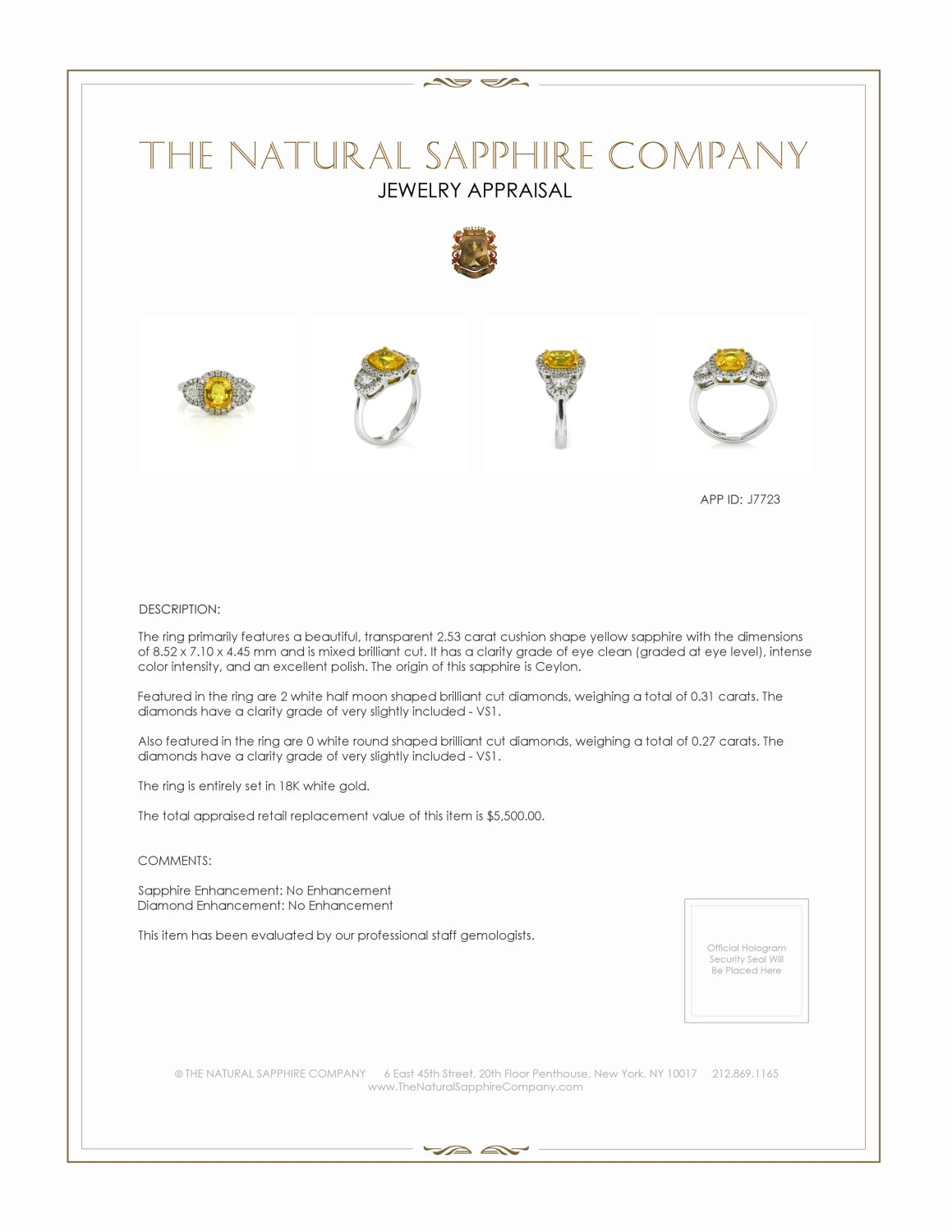 2.53ct Yellow Sapphire Ring Certification 2