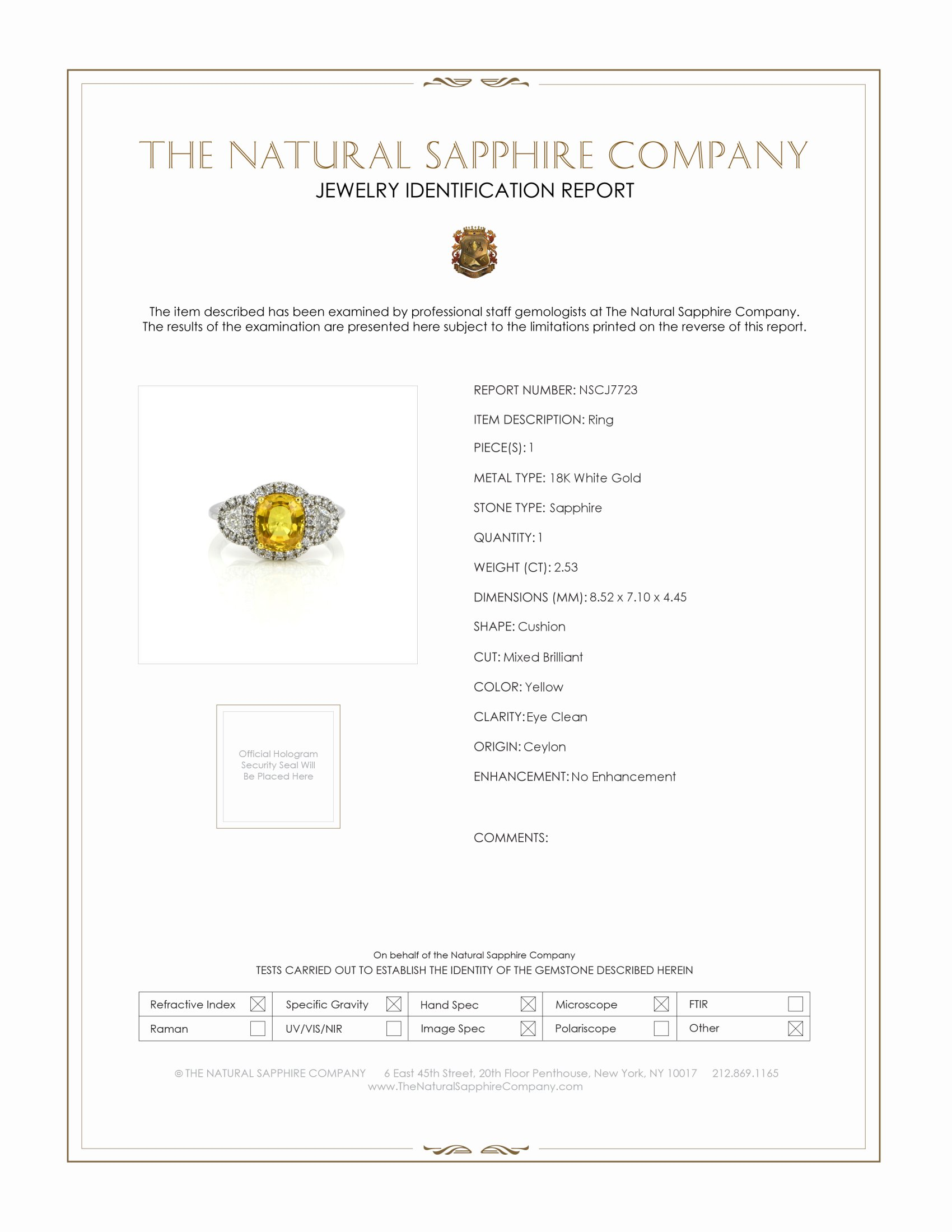 2.53ct Yellow Sapphire Ring Certification