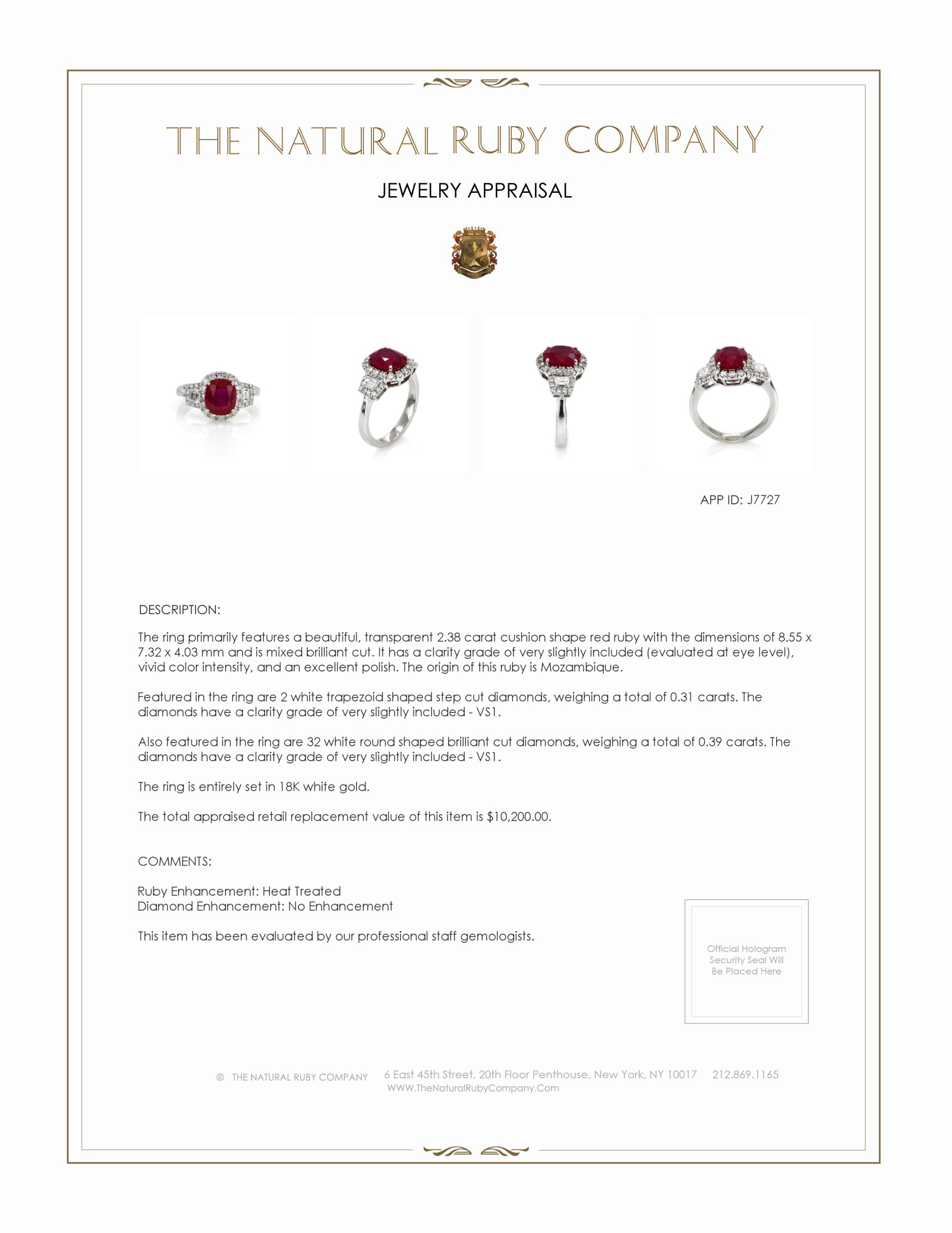 2.38ct Ruby Ring Certification 2