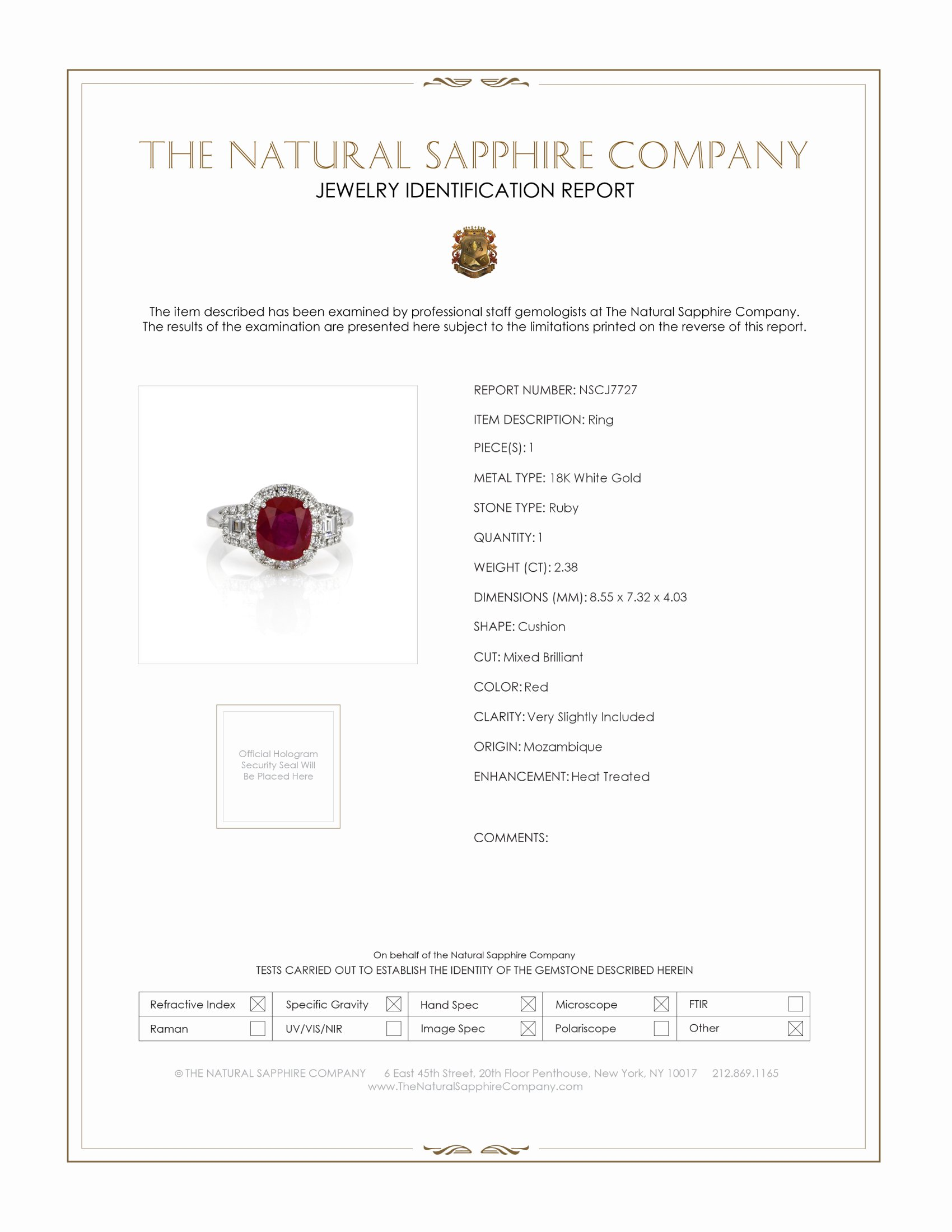 2.38ct Ruby Ring Certification
