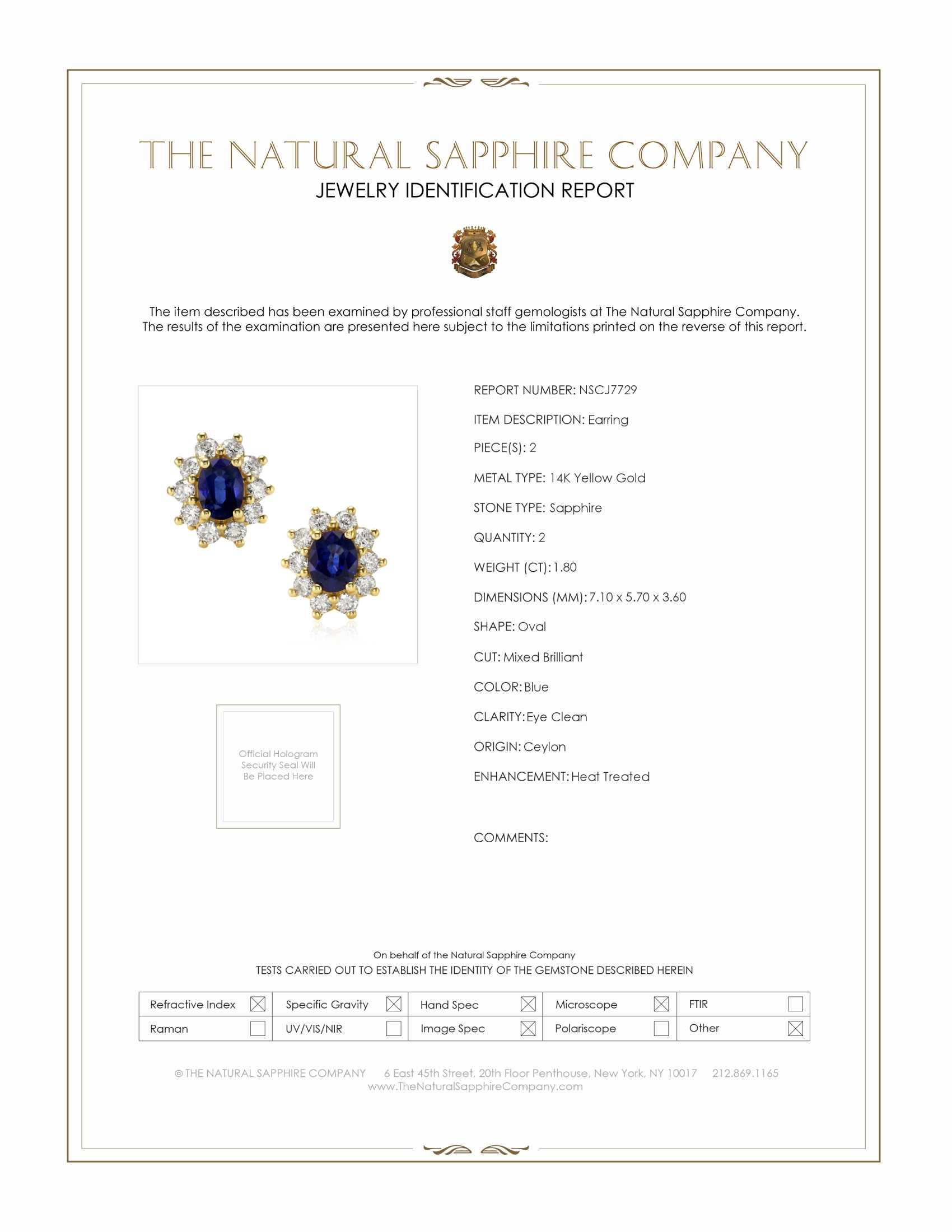 1.80ct Blue Sapphire Earring Certification