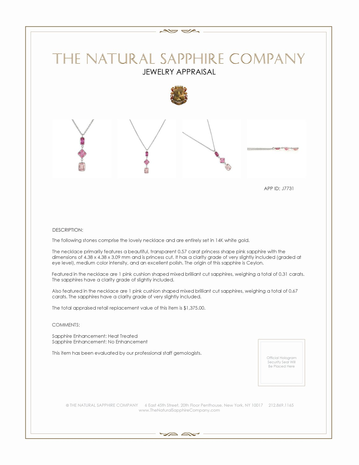 0.67ct Pink Sapphire Necklace Certification 2