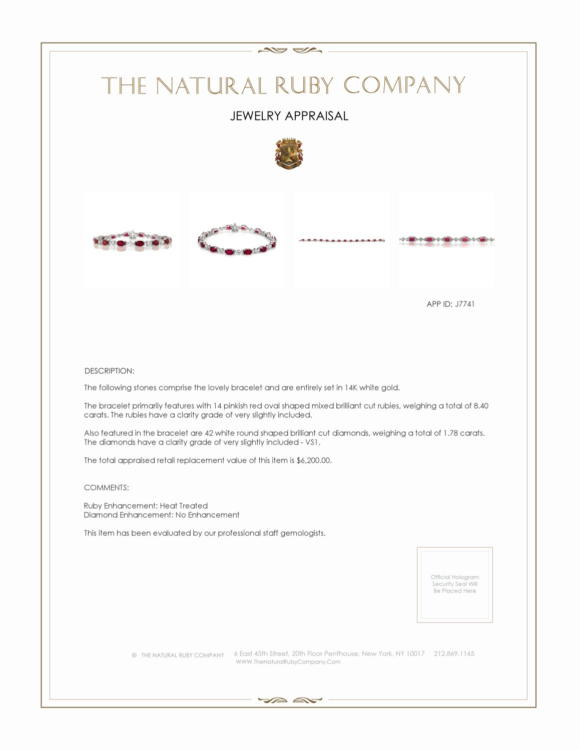 8.40ct Ruby Bracelet Certification 2