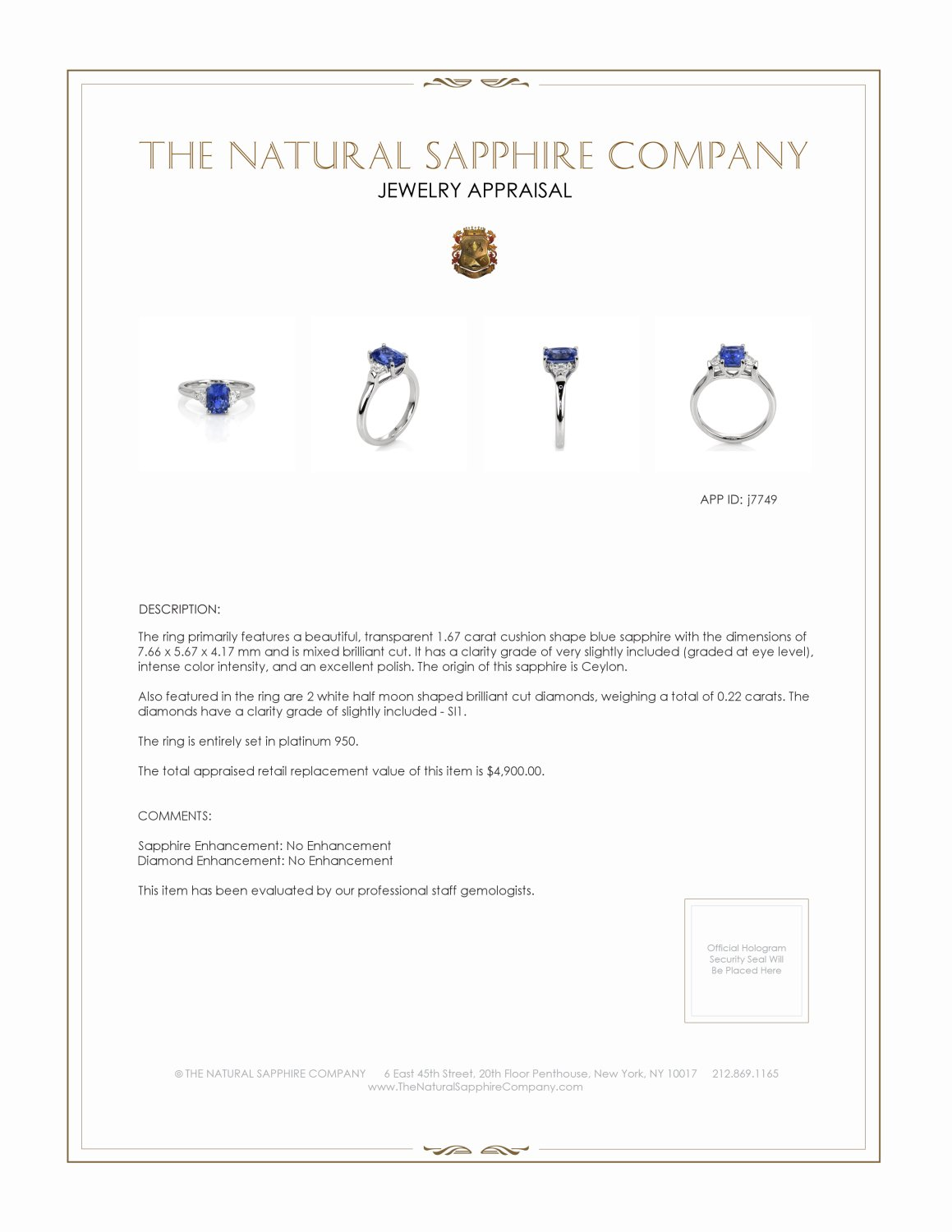 1.67ct Blue Sapphire Ring Certification 2