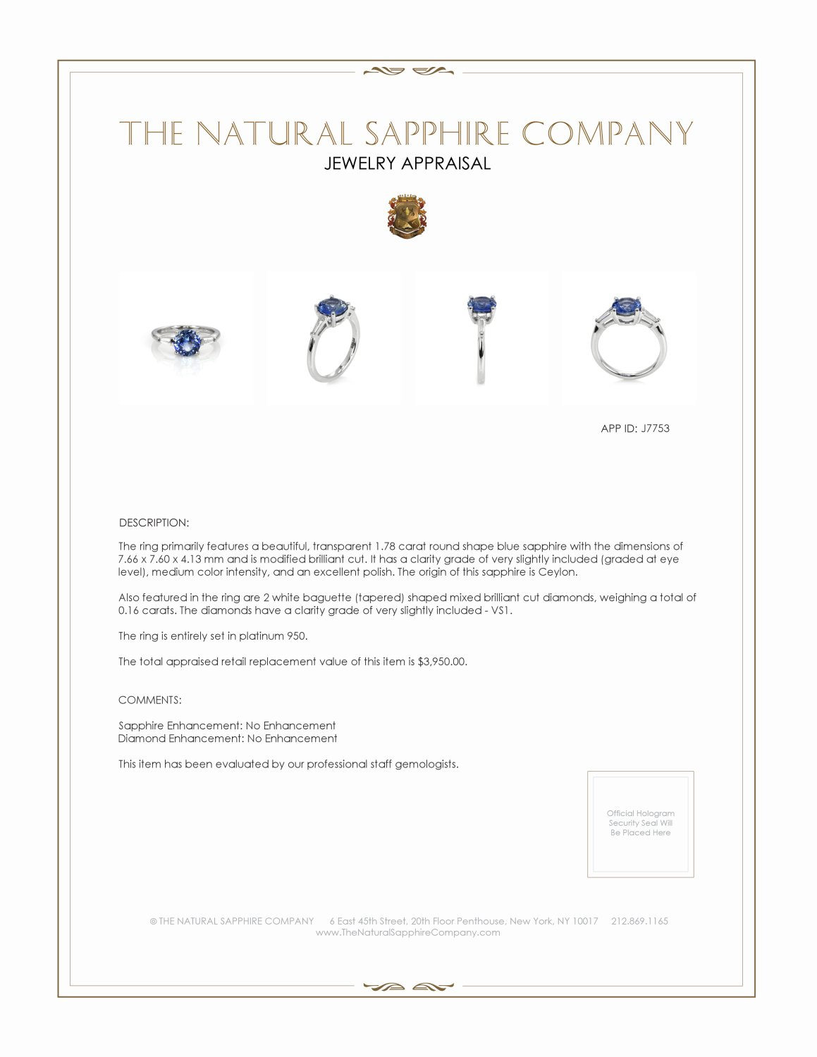 1.78ct Blue Sapphire Ring Certification 2