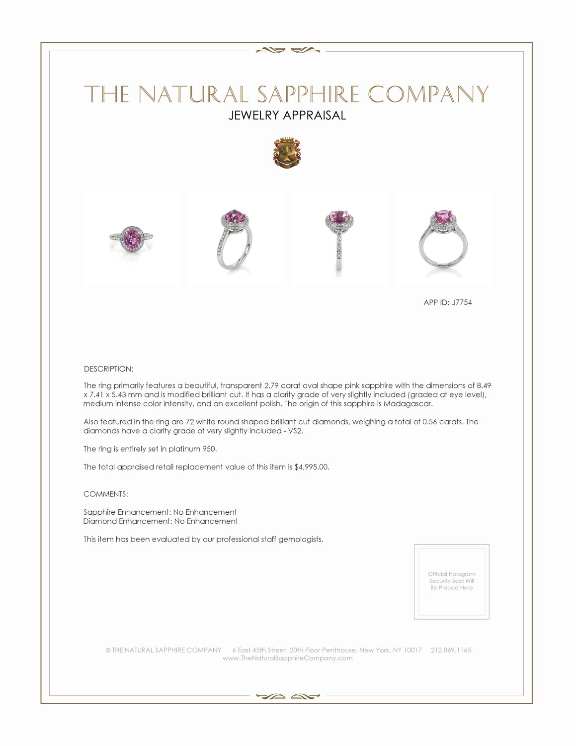 2.79ct Pink Sapphire Ring Certification