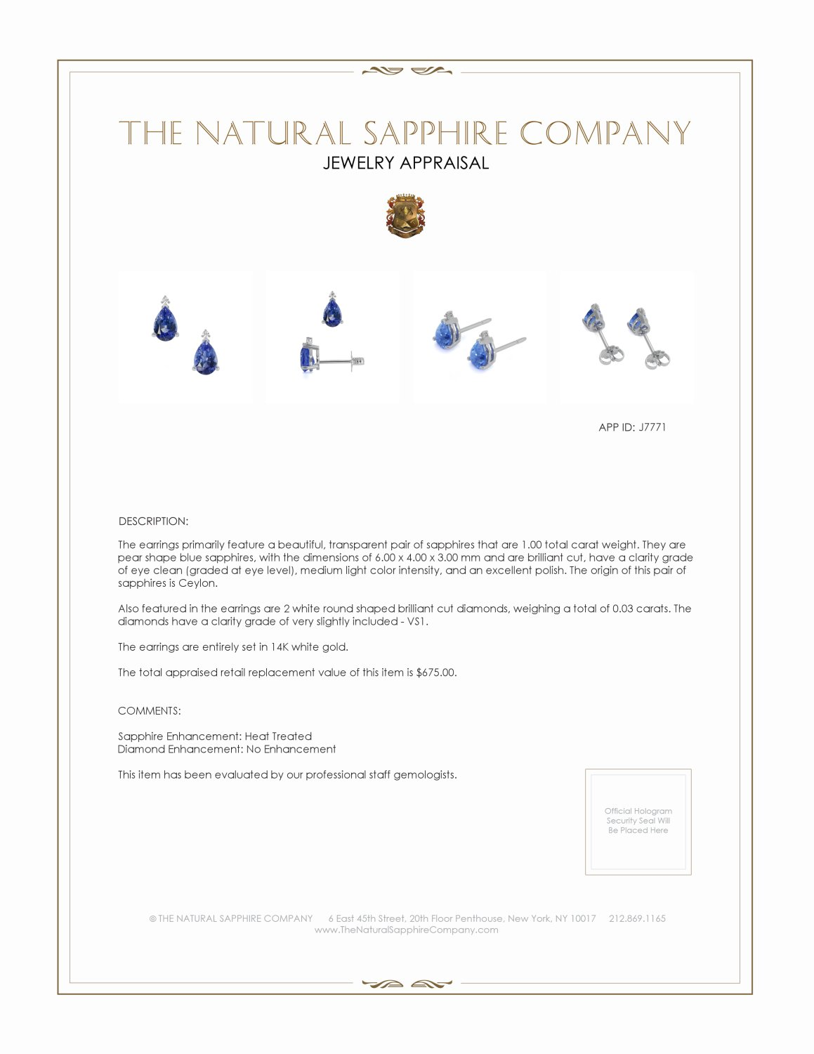 1.00ct Blue Sapphire Earring Certification