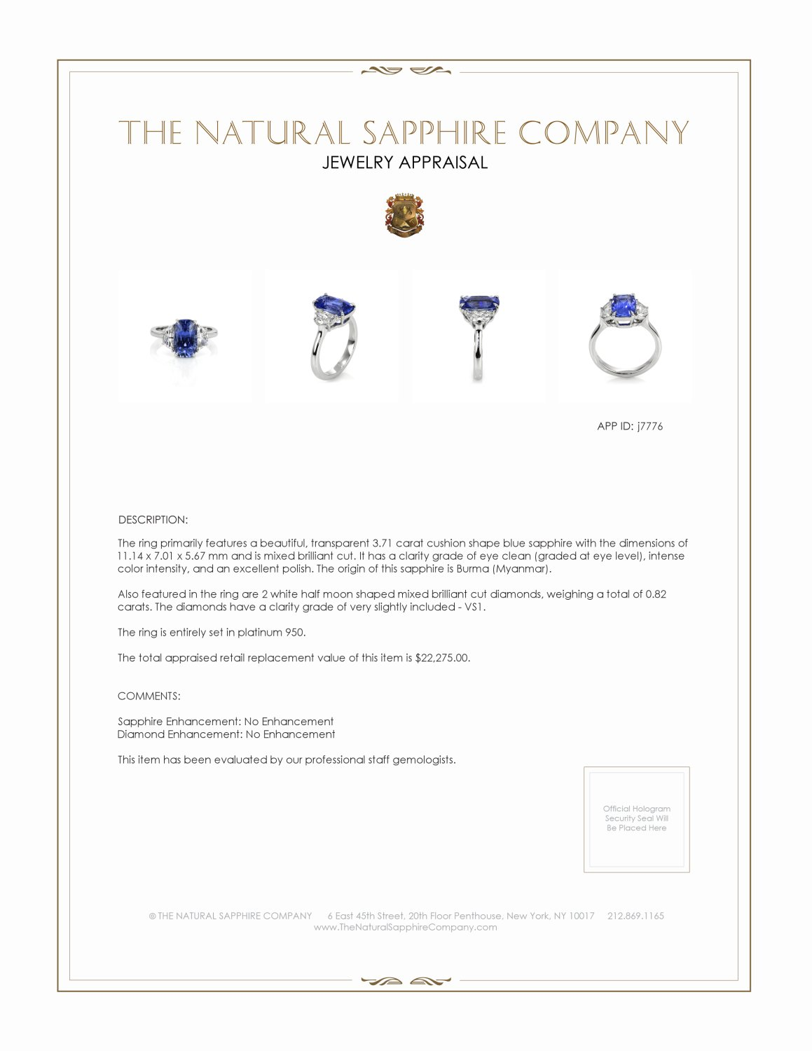 3.71ct Blue Sapphire Ring Certification 2