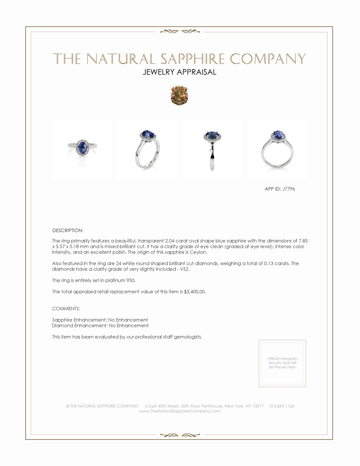 2.04ct Blue Sapphire Ring Certification 2