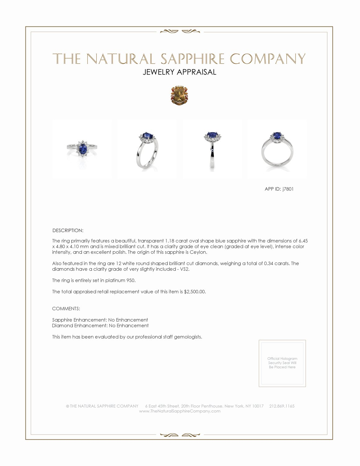 1.18ct Blue Sapphire Ring Certification 2