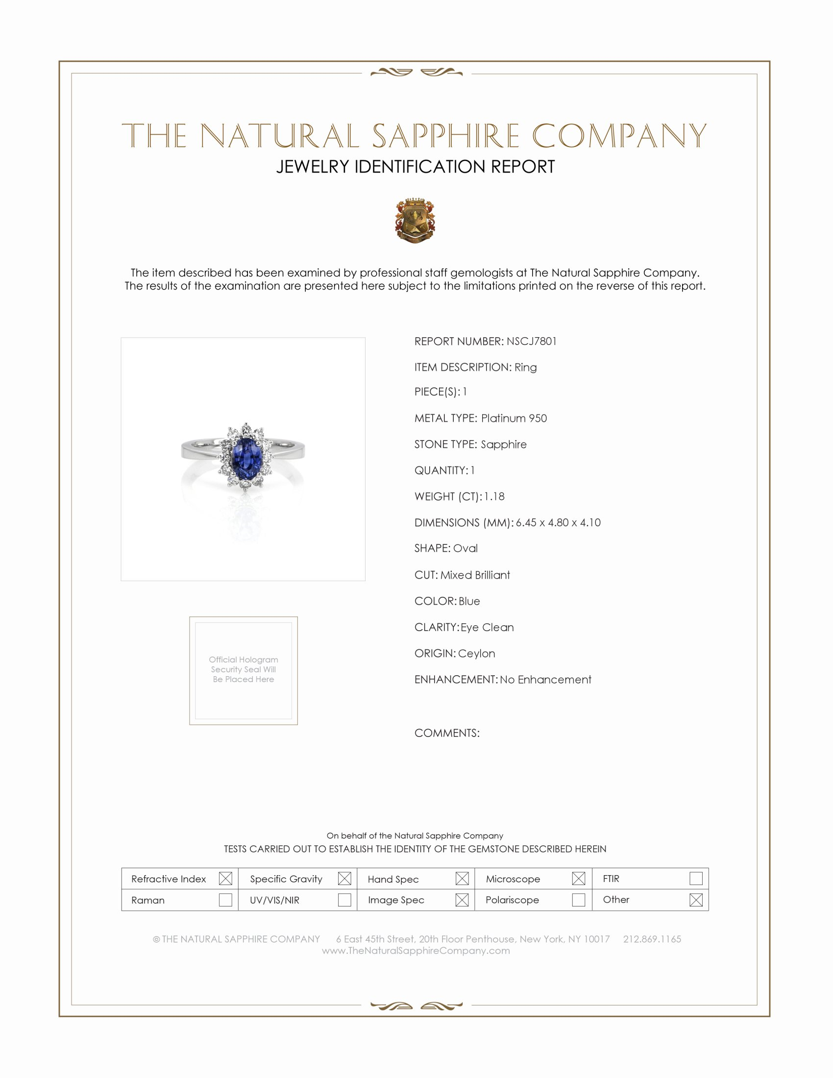 1.18ct Blue Sapphire Ring Certification