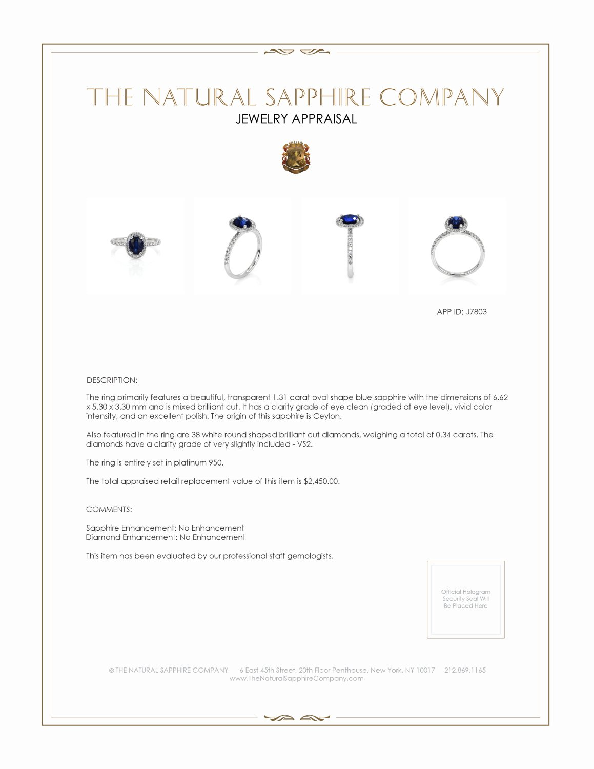 1.31ct Blue Sapphire Ring Certification 2