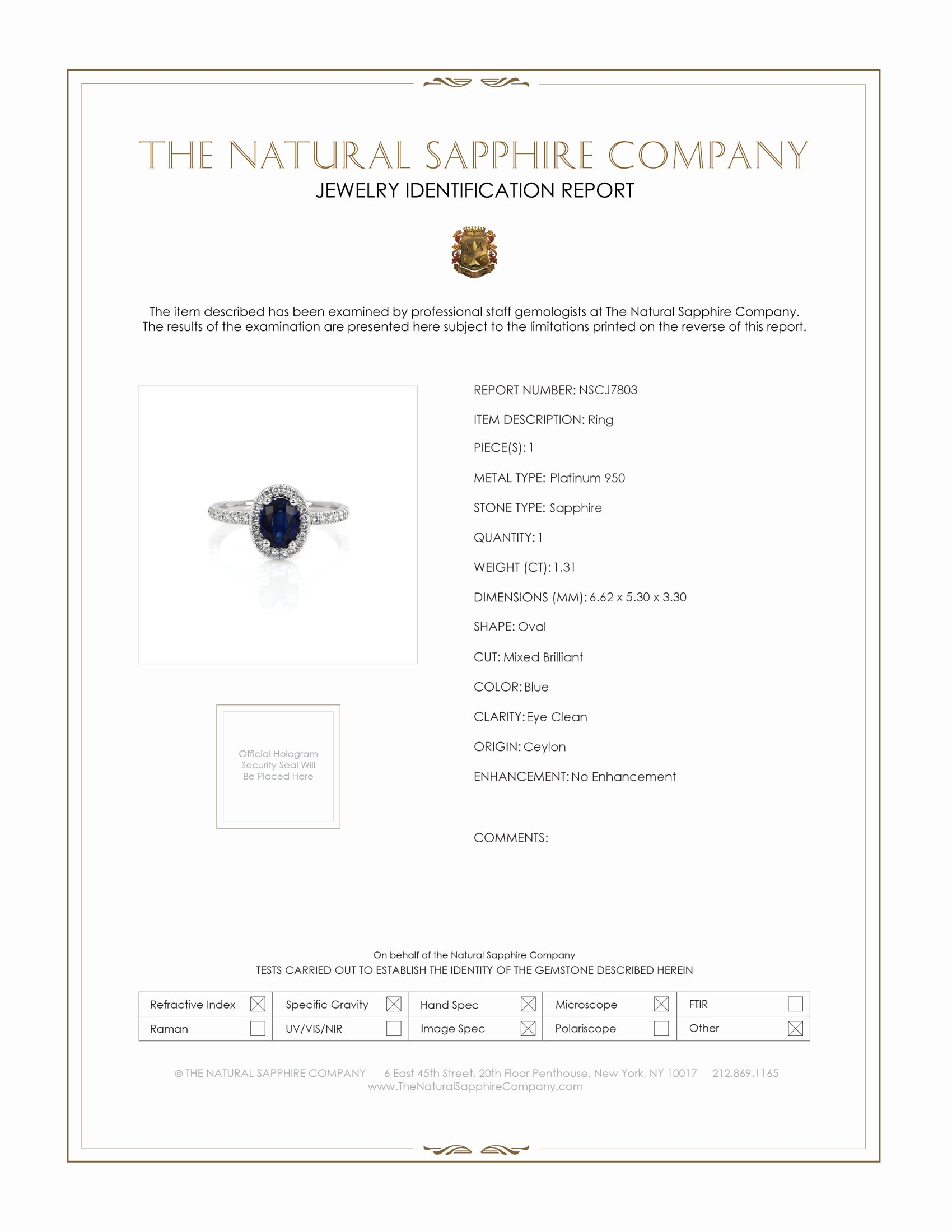 1.31ct Blue Sapphire Ring Certification
