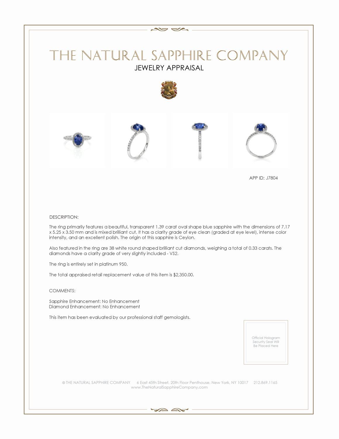 1.39ct Blue Sapphire Ring Certification 2