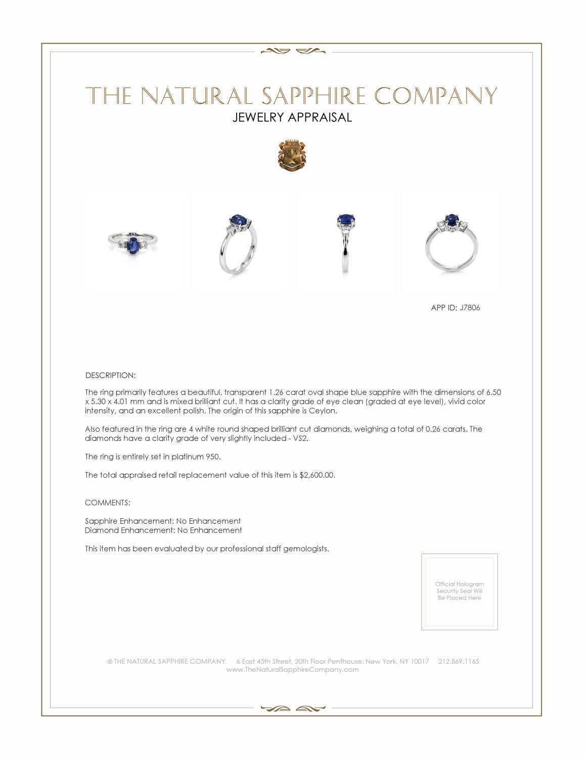 1.26ct Blue Sapphire Ring Certification 2