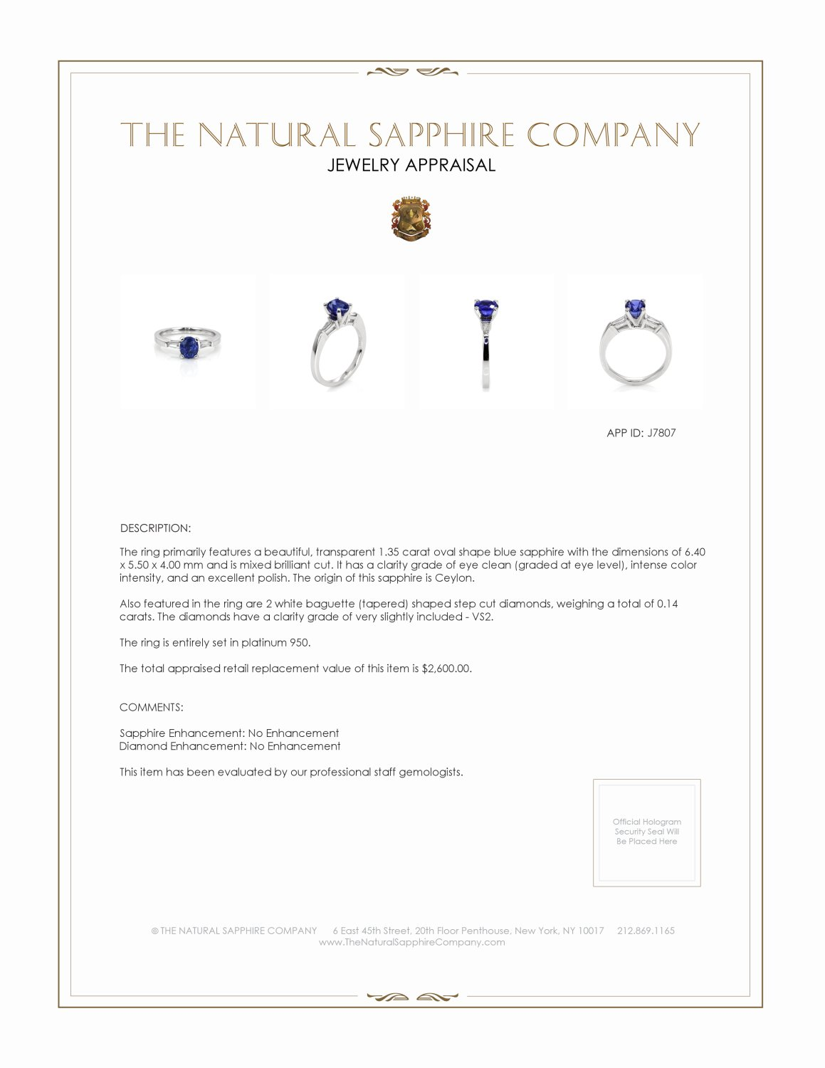 1.35ct Blue Sapphire Ring Certification 2