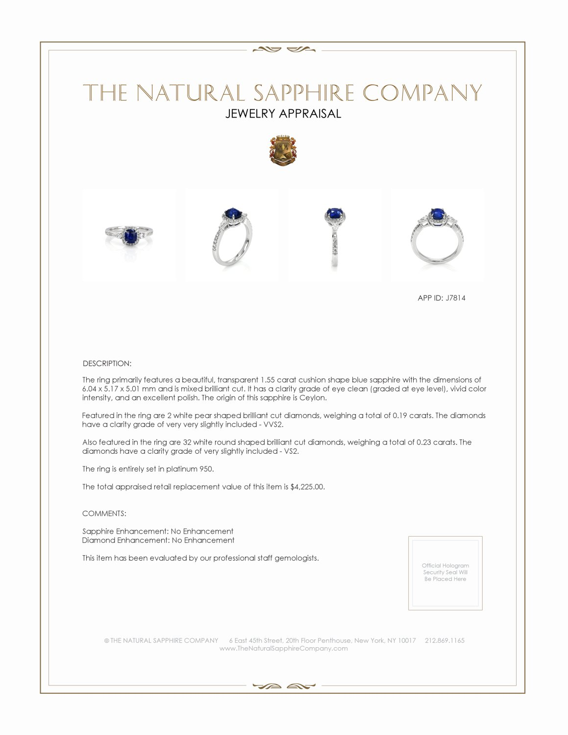 1.55ct Blue Sapphire Ring Certification 2