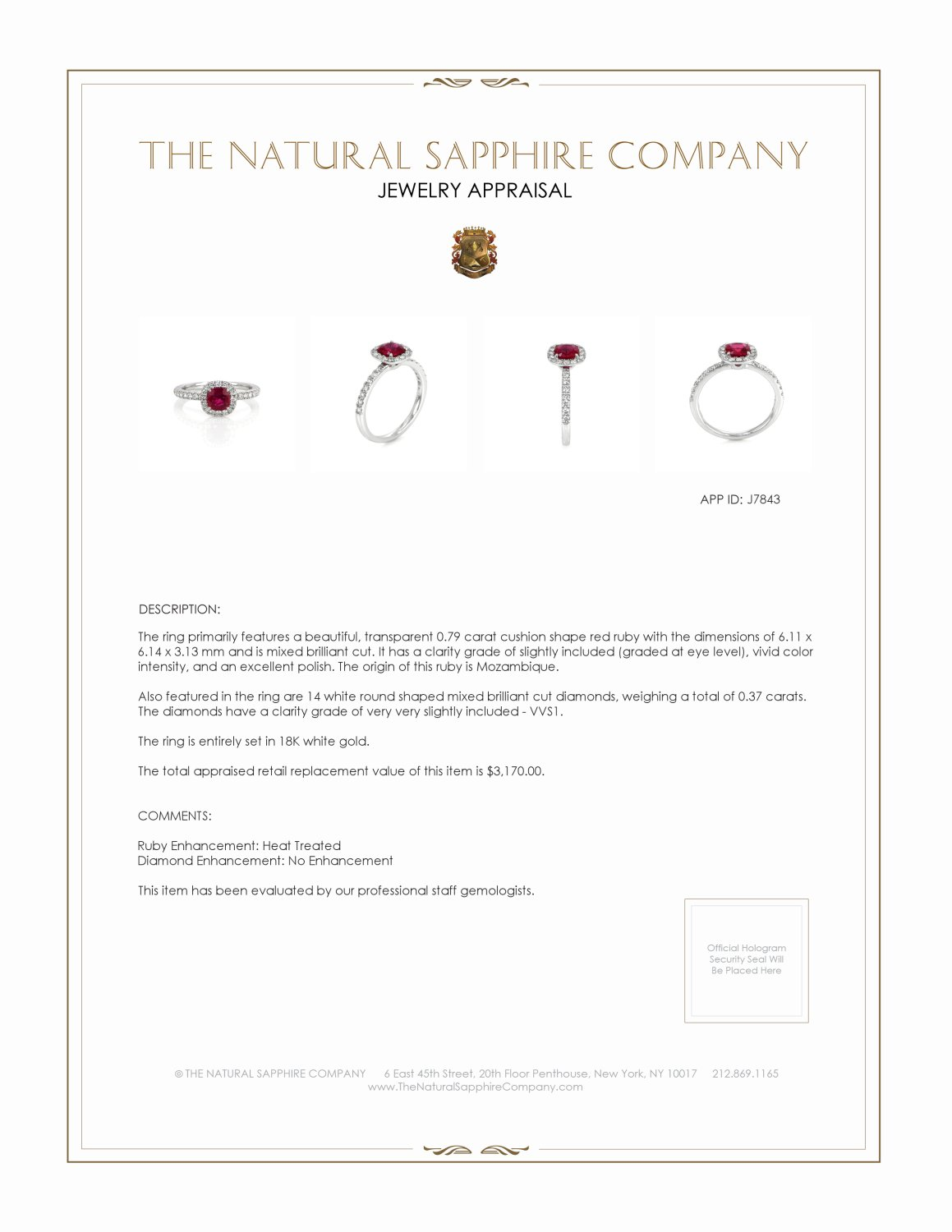 0.79ct Ruby Ring Certification 2