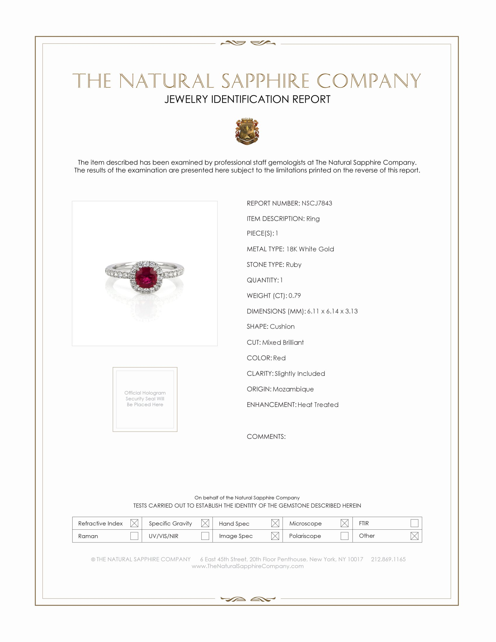 0.79ct Ruby Ring Certification