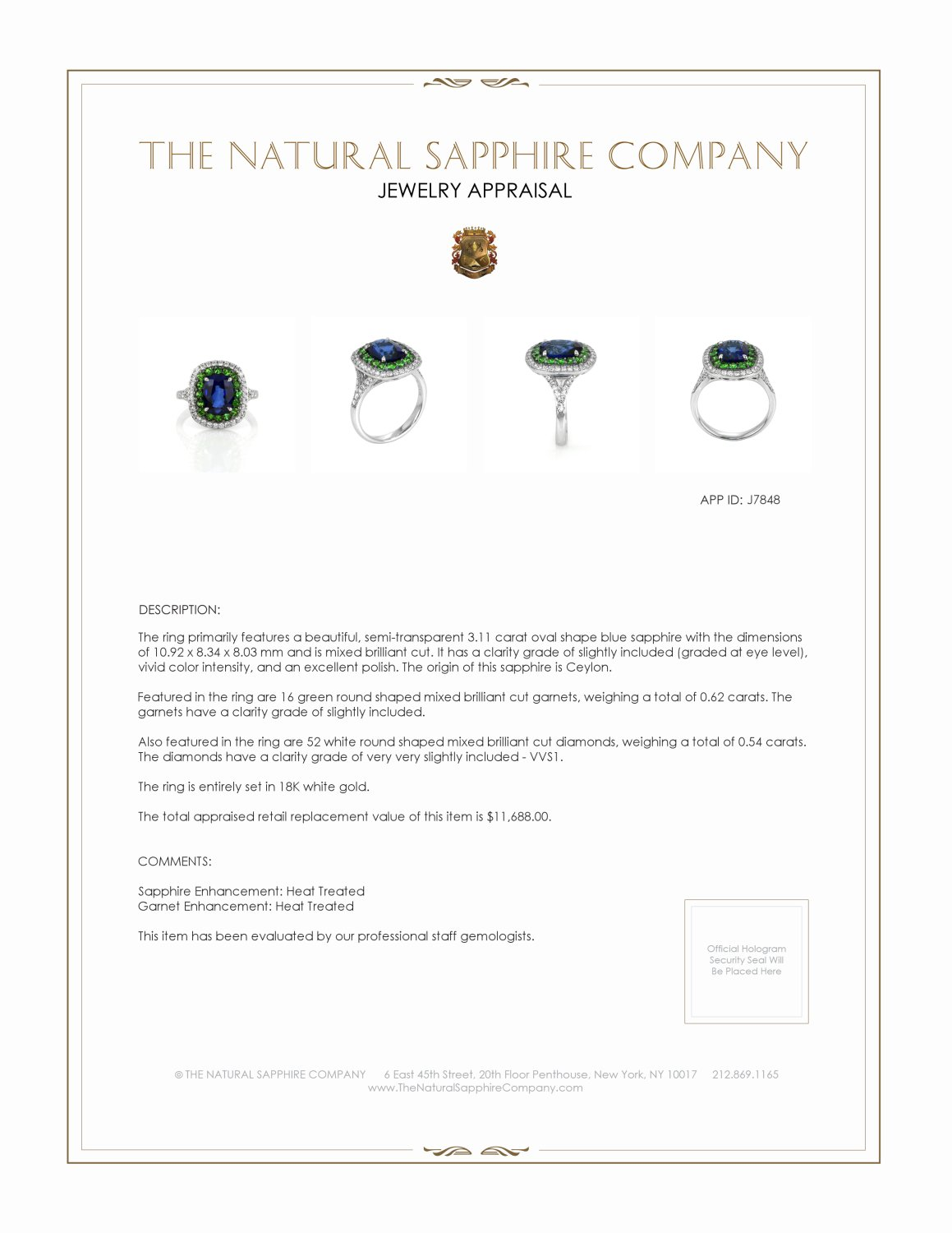 3.11ct Blue Sapphire Ring Certification 2