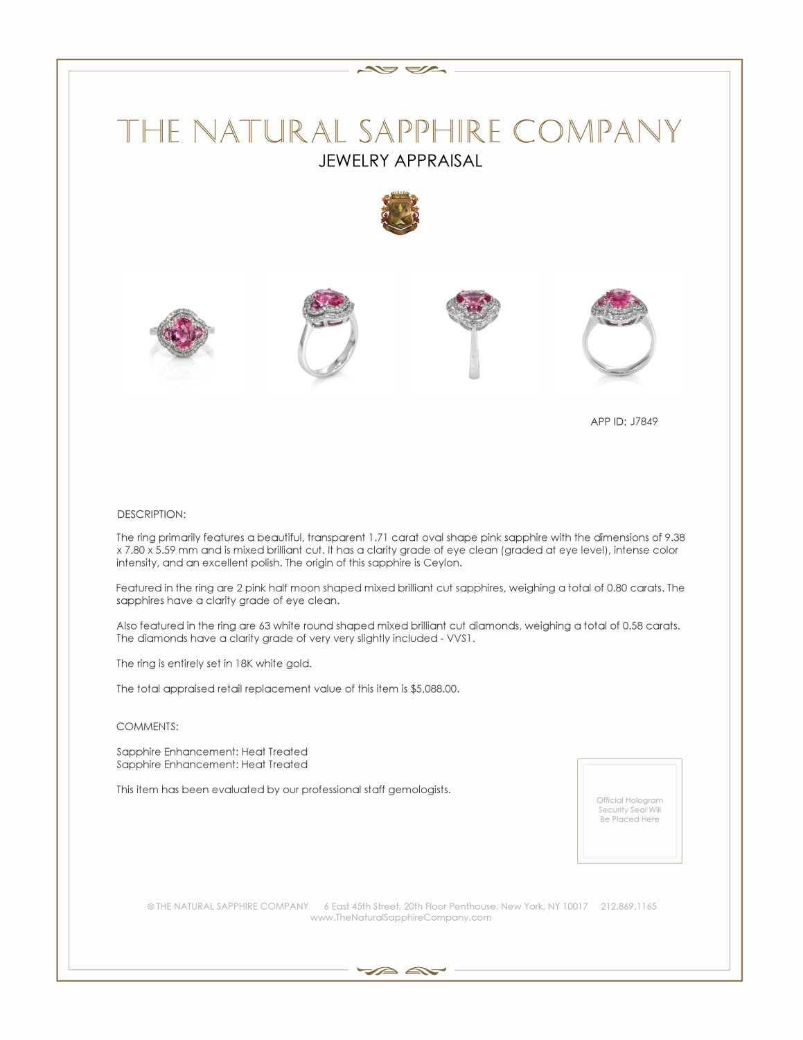 1.71ct Pink Sapphire Ring Certification 2