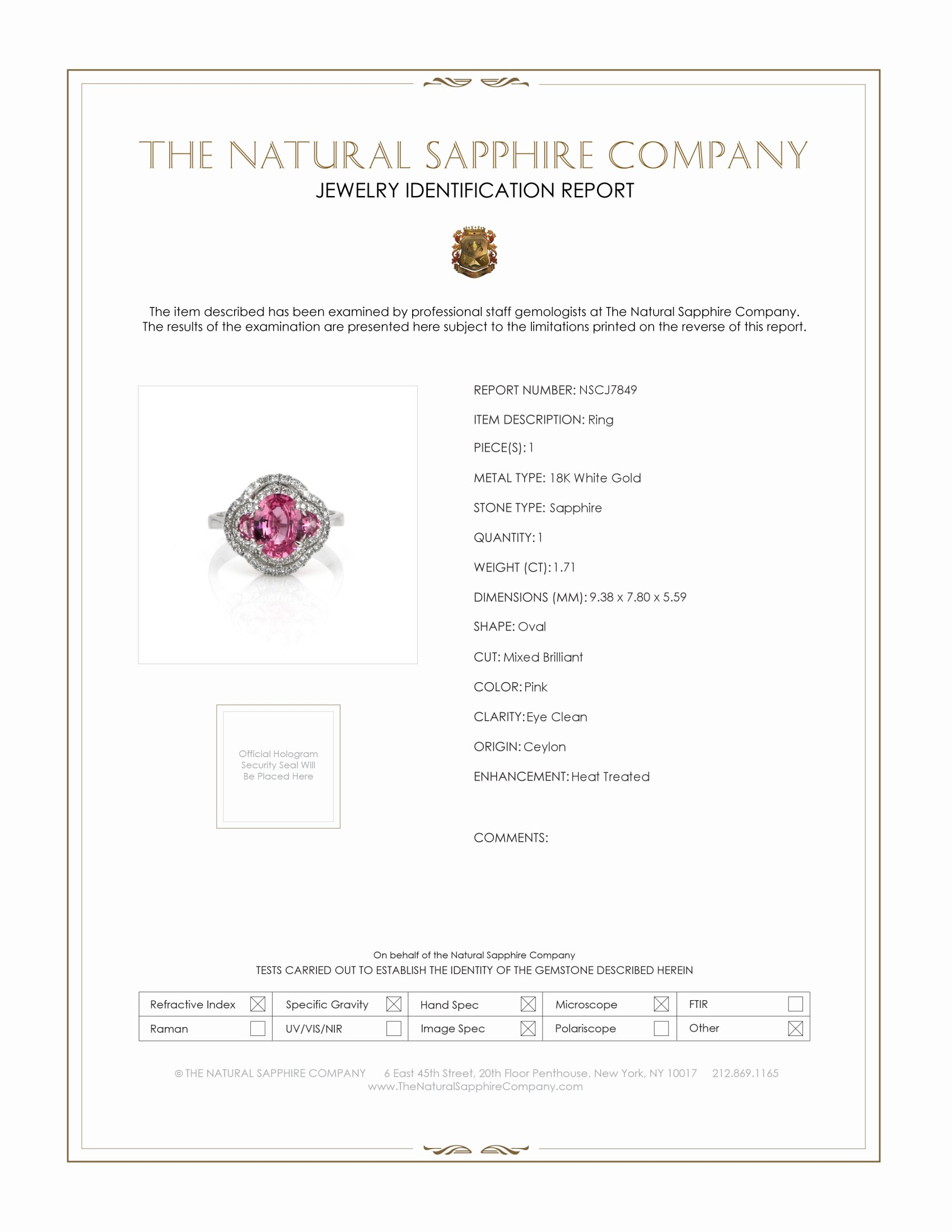 1.71ct Pink Sapphire Ring Certification