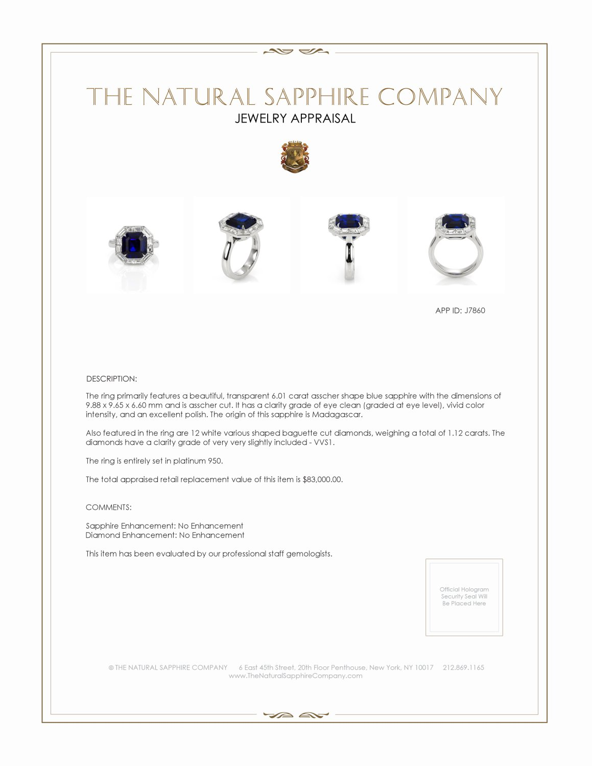 6.01ct Blue Sapphire Ring Certification