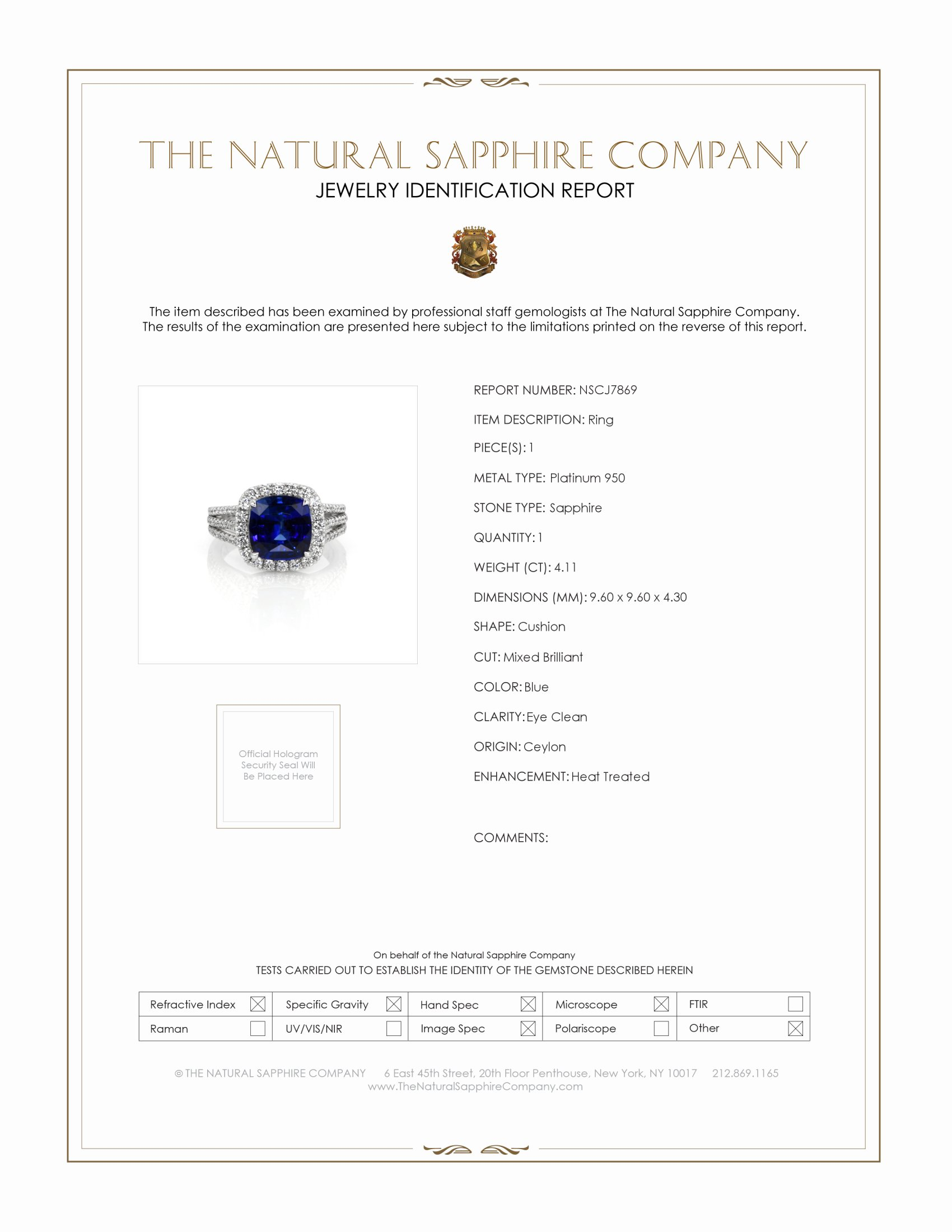 4.11ct Blue Sapphire Ring Certification