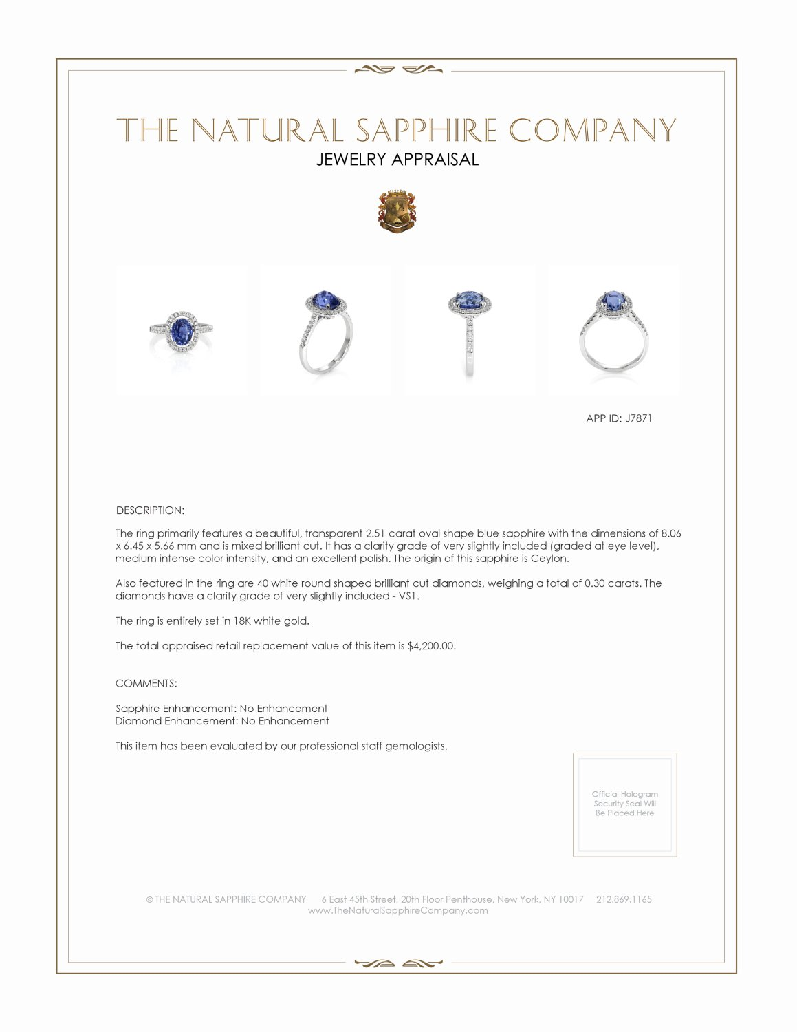 2.51ct Blue Sapphire Ring Certification