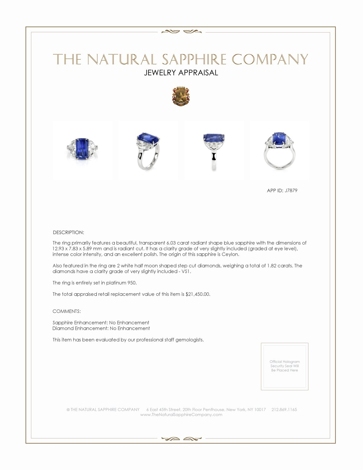 6.03ct Blue Sapphire Ring Certification 2