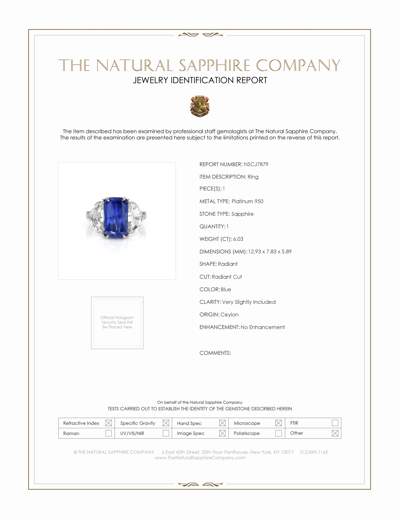 6.03ct Blue Sapphire Ring Certification