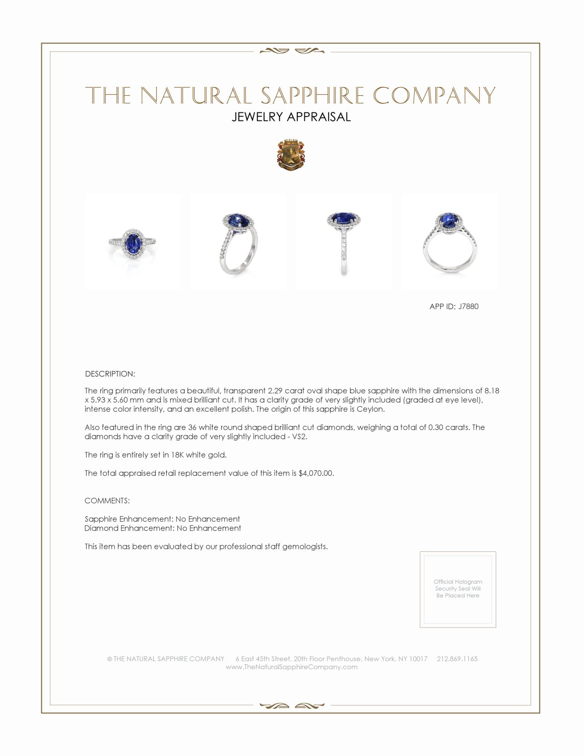 2.29ct Blue Sapphire Ring Certification 2