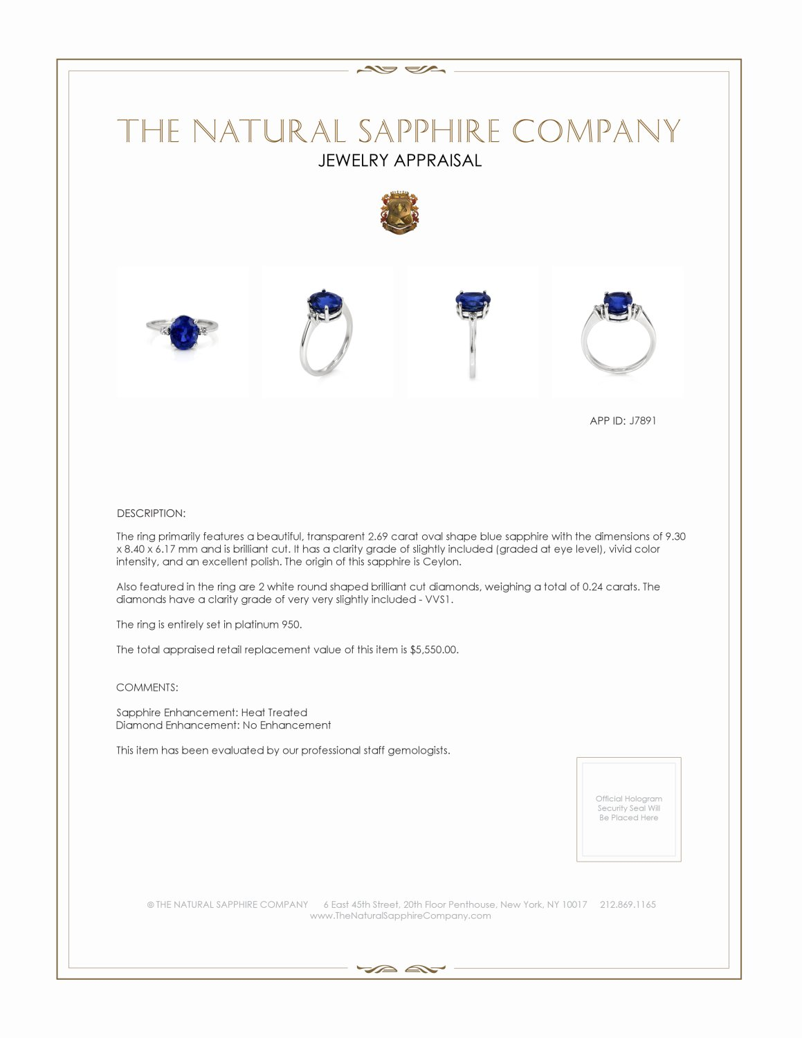 2.69ct Blue Sapphire Ring Certification 2