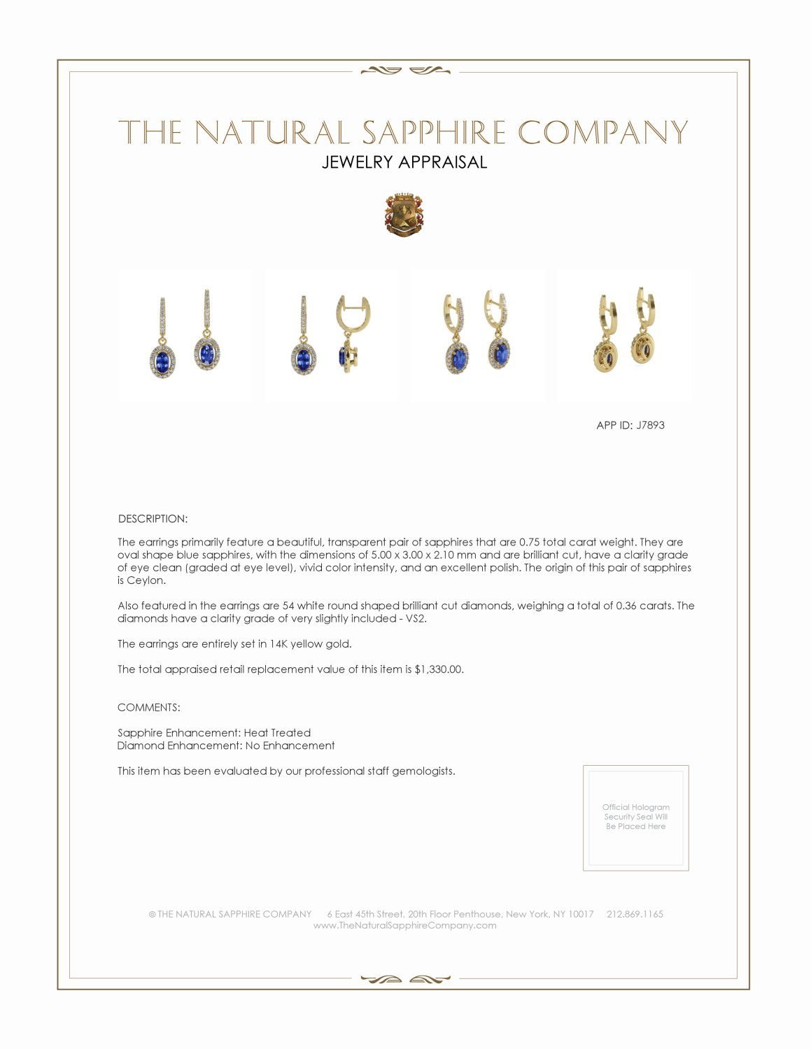 0.75ct Blue Sapphire Earring Certification 2