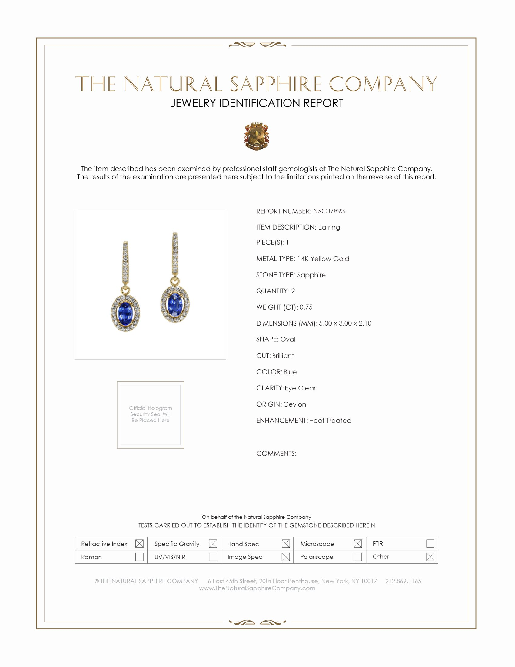 0.75ct Blue Sapphire Earring Certification