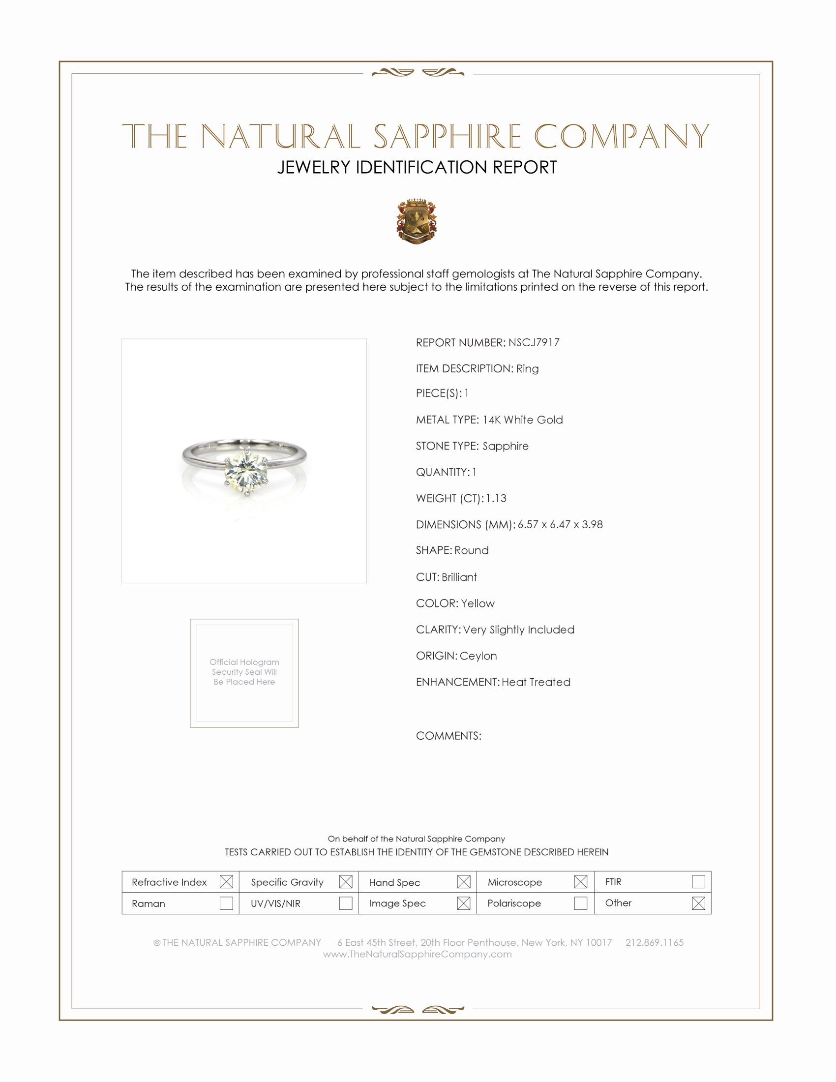1.13ct Yellow Sapphire Ring Certification