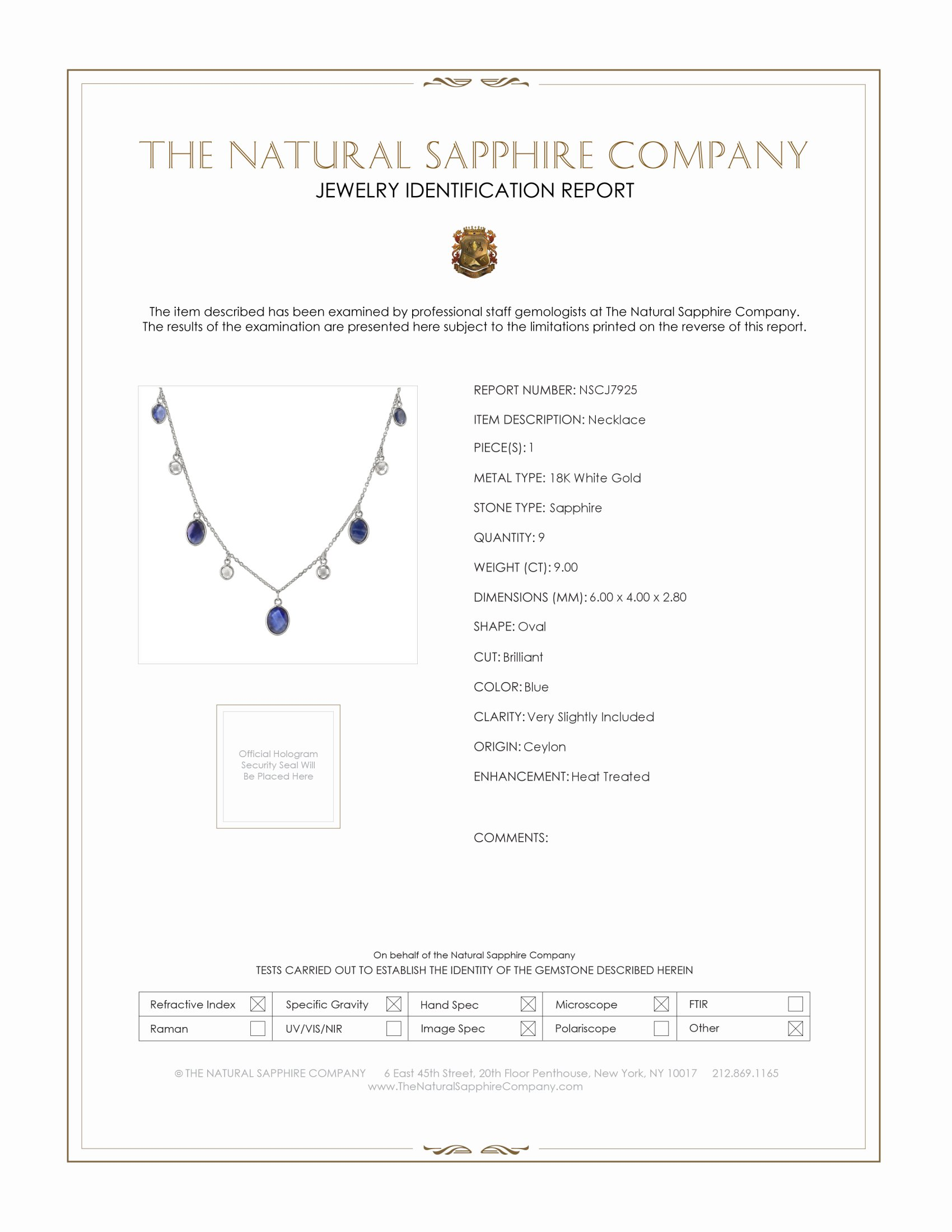9.00ct Blue Sapphire Necklace Certification