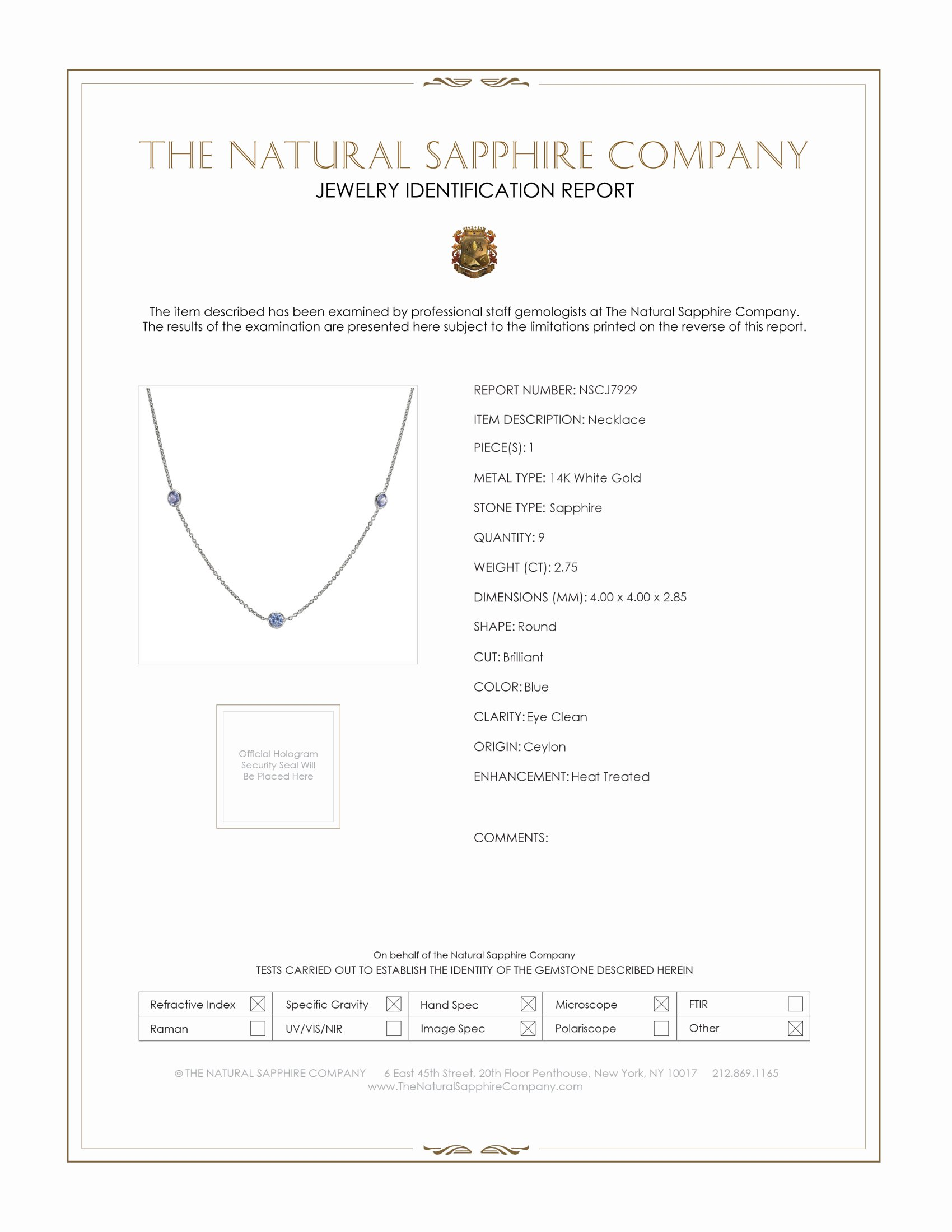 2.75ct Blue Sapphire Necklace Certification