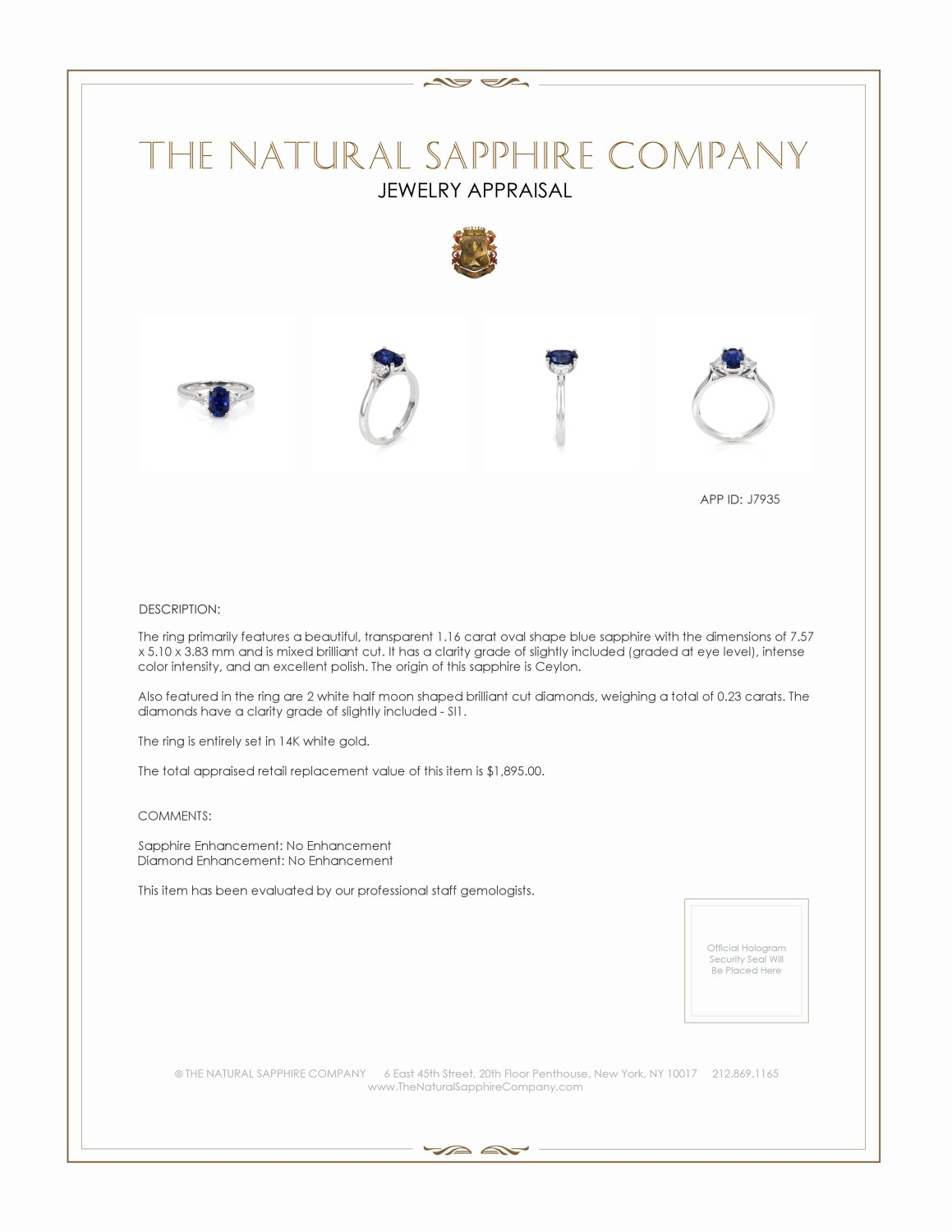 1.16ct Blue Sapphire Ring Certification 2