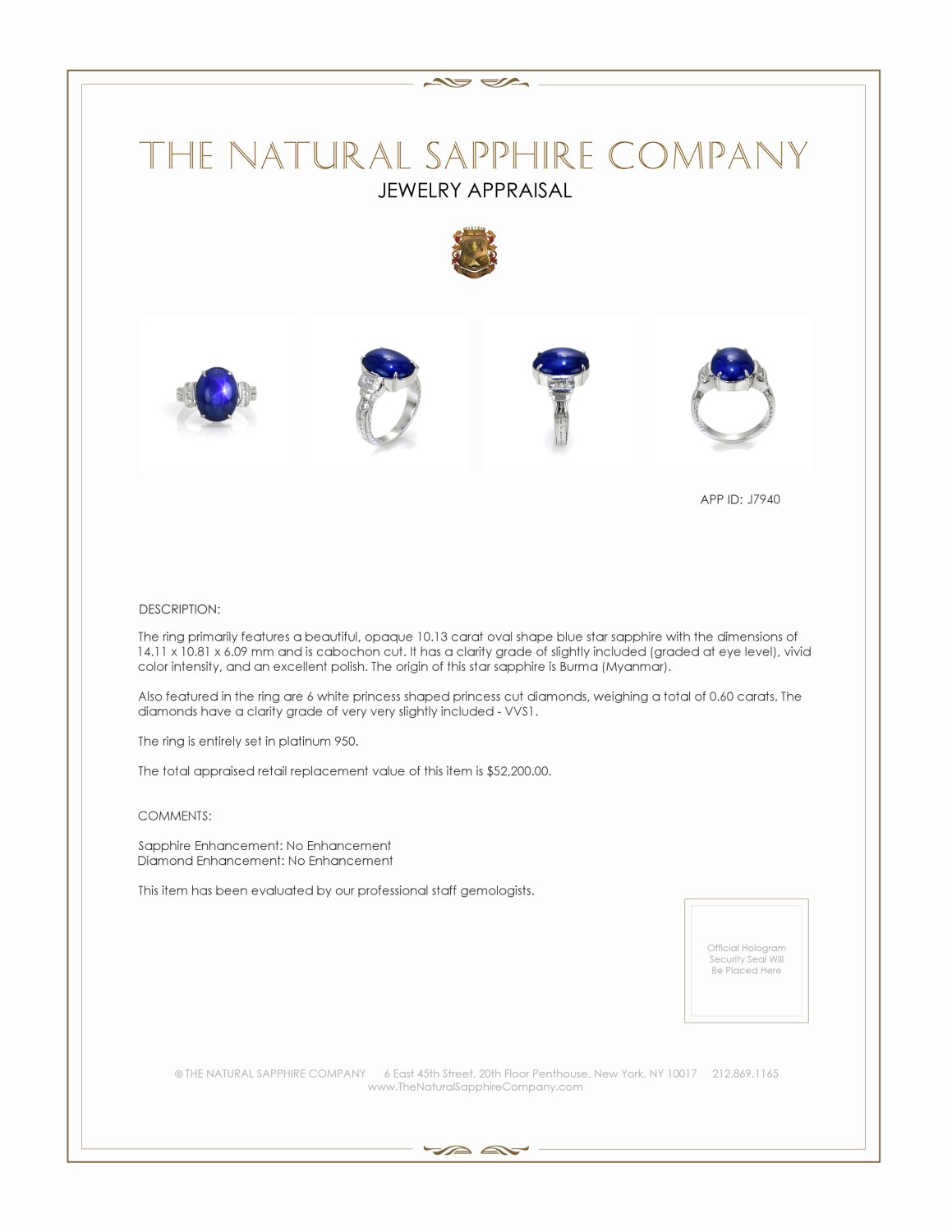 10.13ct Blue Sapphire Ring Certification