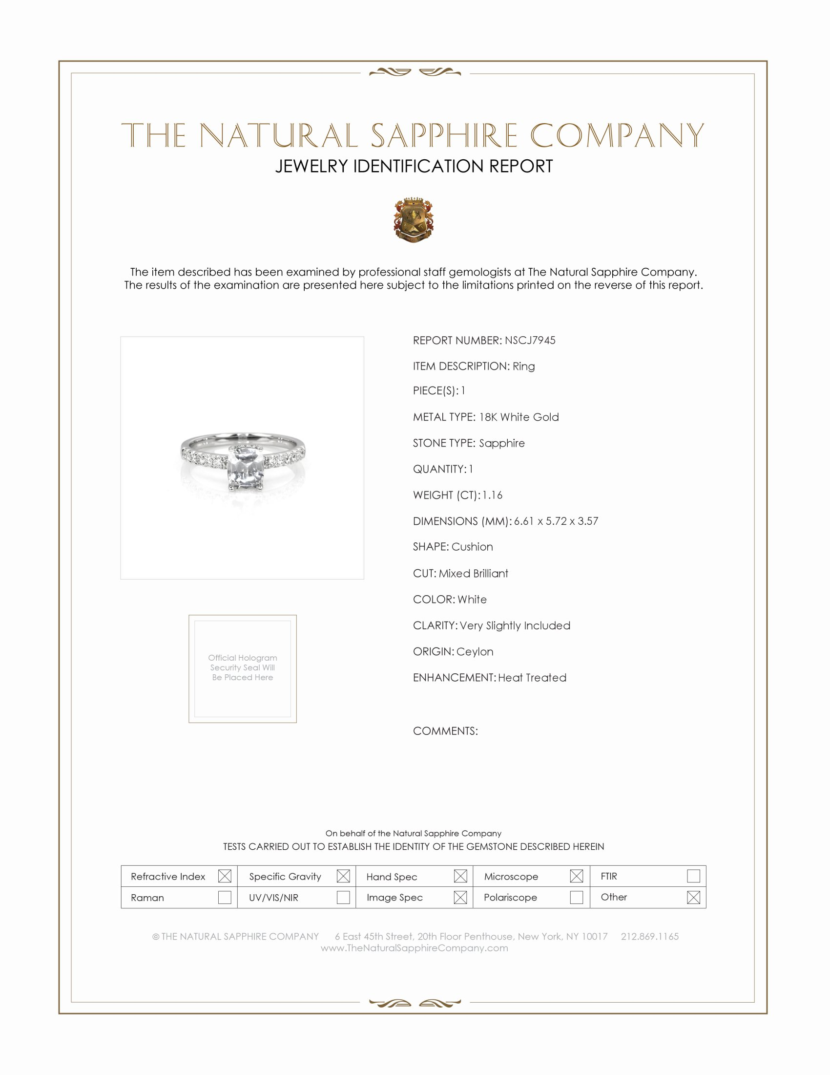 1.16ct White Sapphire Ring Certification