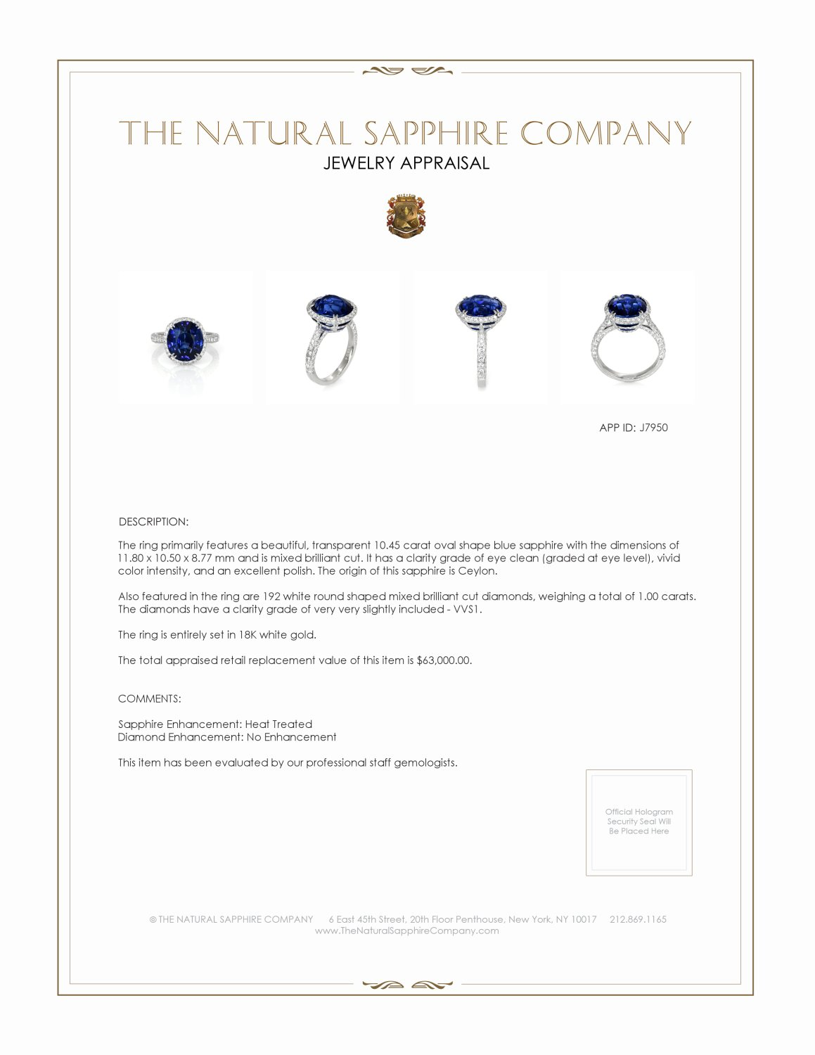 10.45ct Blue Sapphire Ring Certification