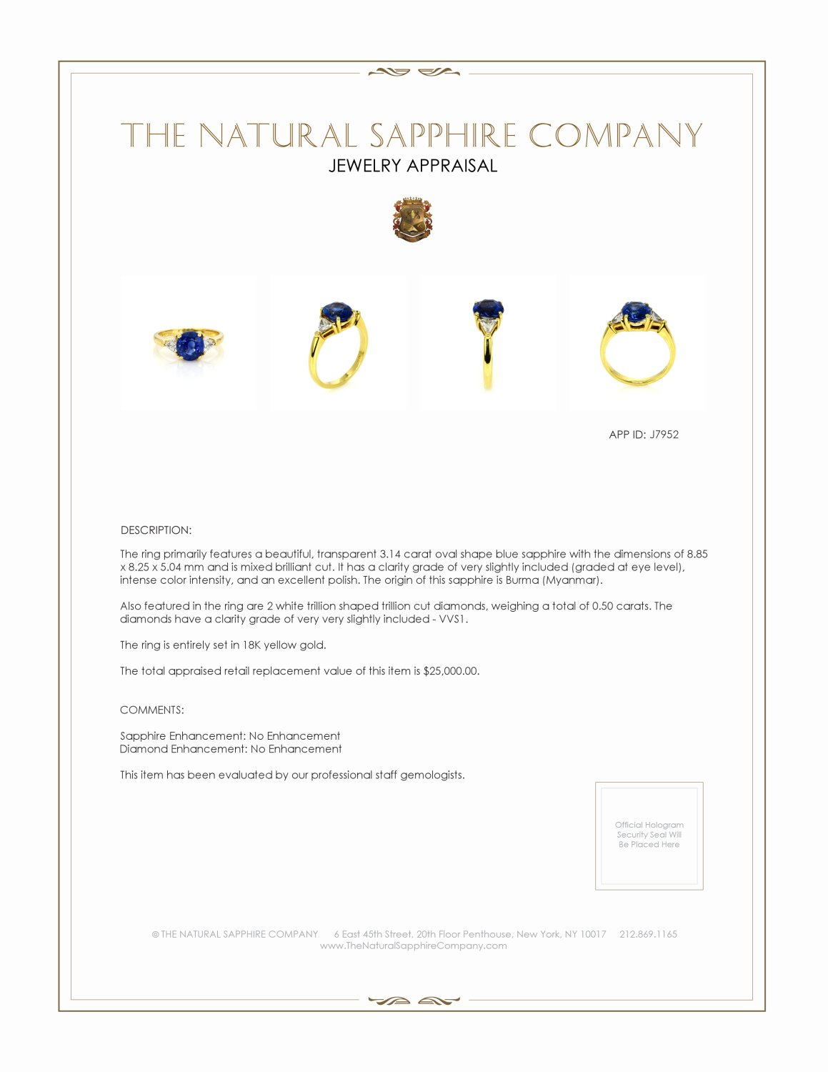 3.14ct Blue Sapphire Ring Certification