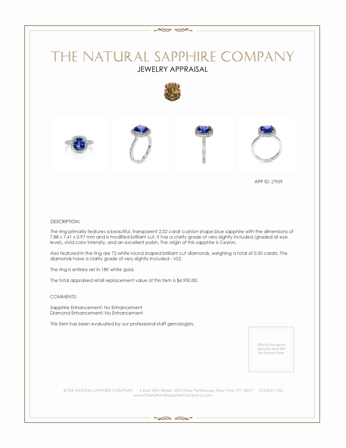 2.02ct Blue Sapphire Ring Certification 2