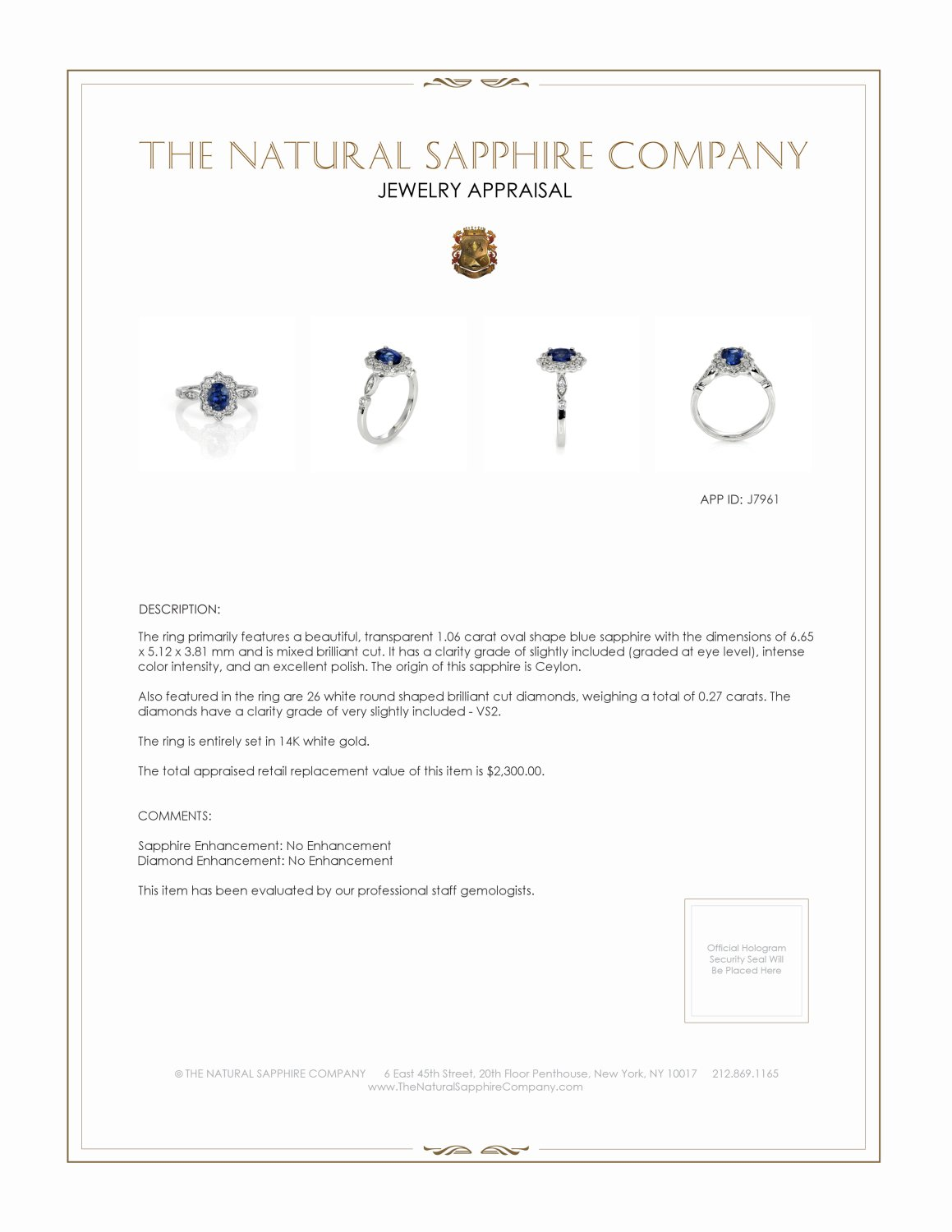 1.06ct Blue Sapphire Ring Certification 2