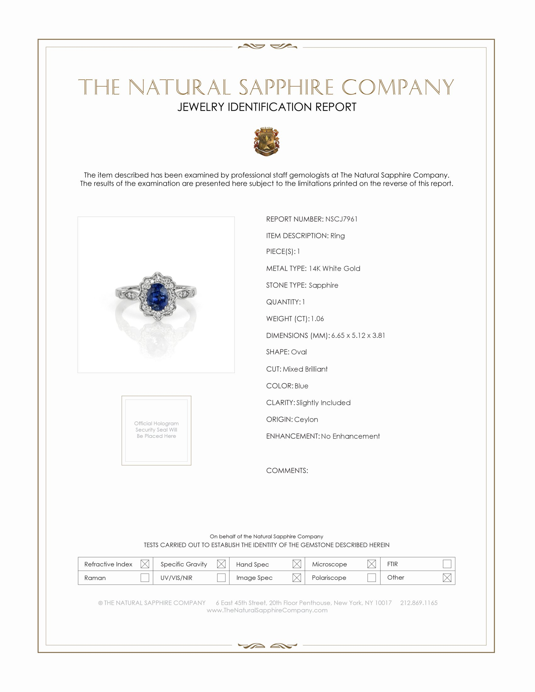 1.06ct Blue Sapphire Ring Certification