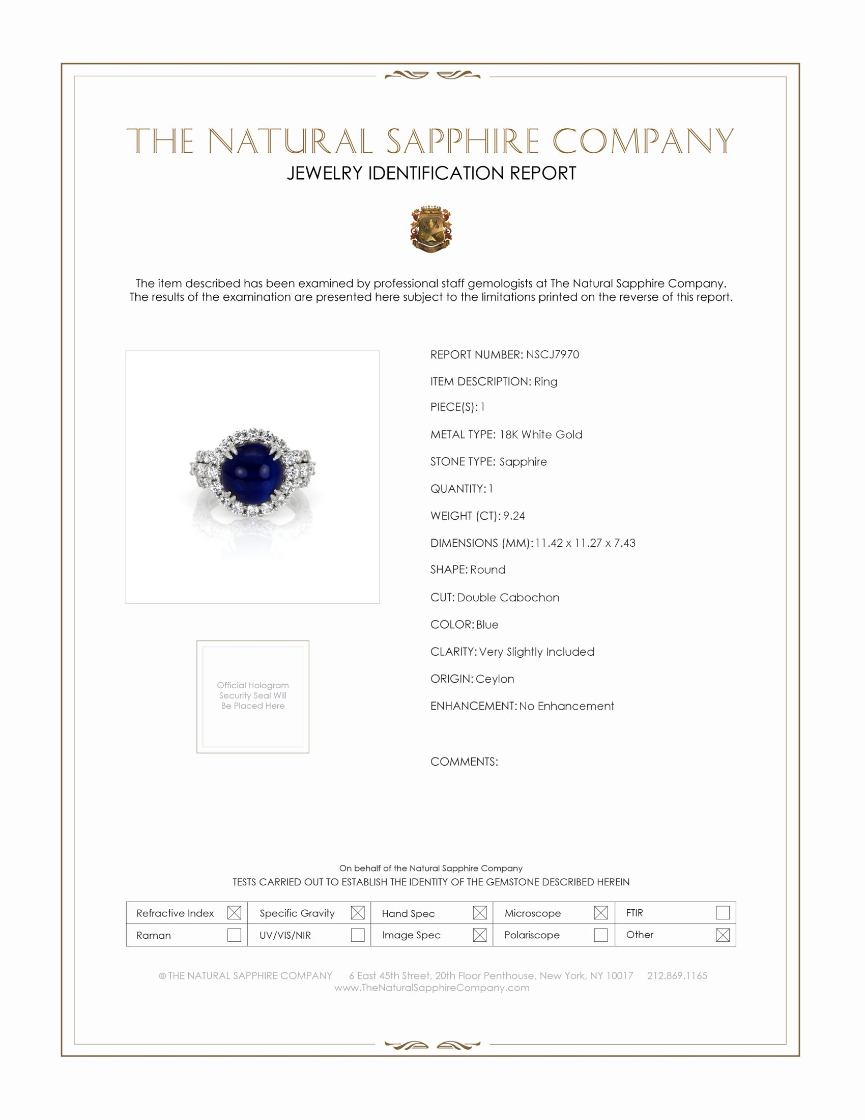 9.24ct Blue Sapphire Ring Certification