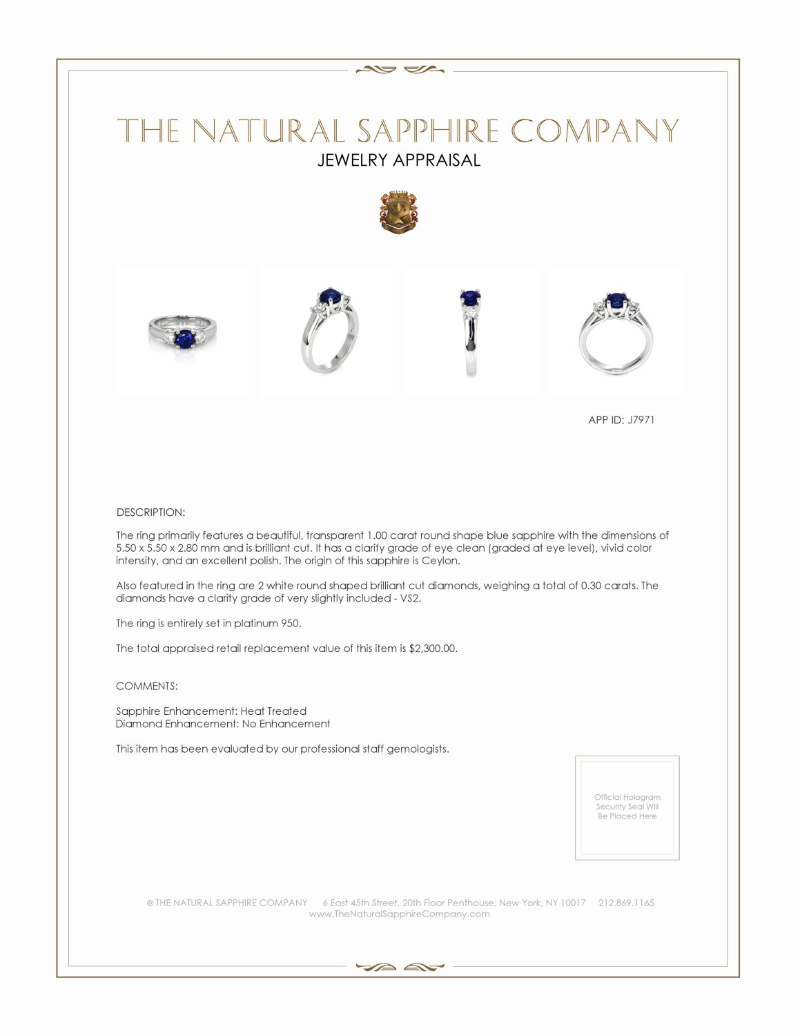 1.00ct Blue Sapphire Ring Certification 2
