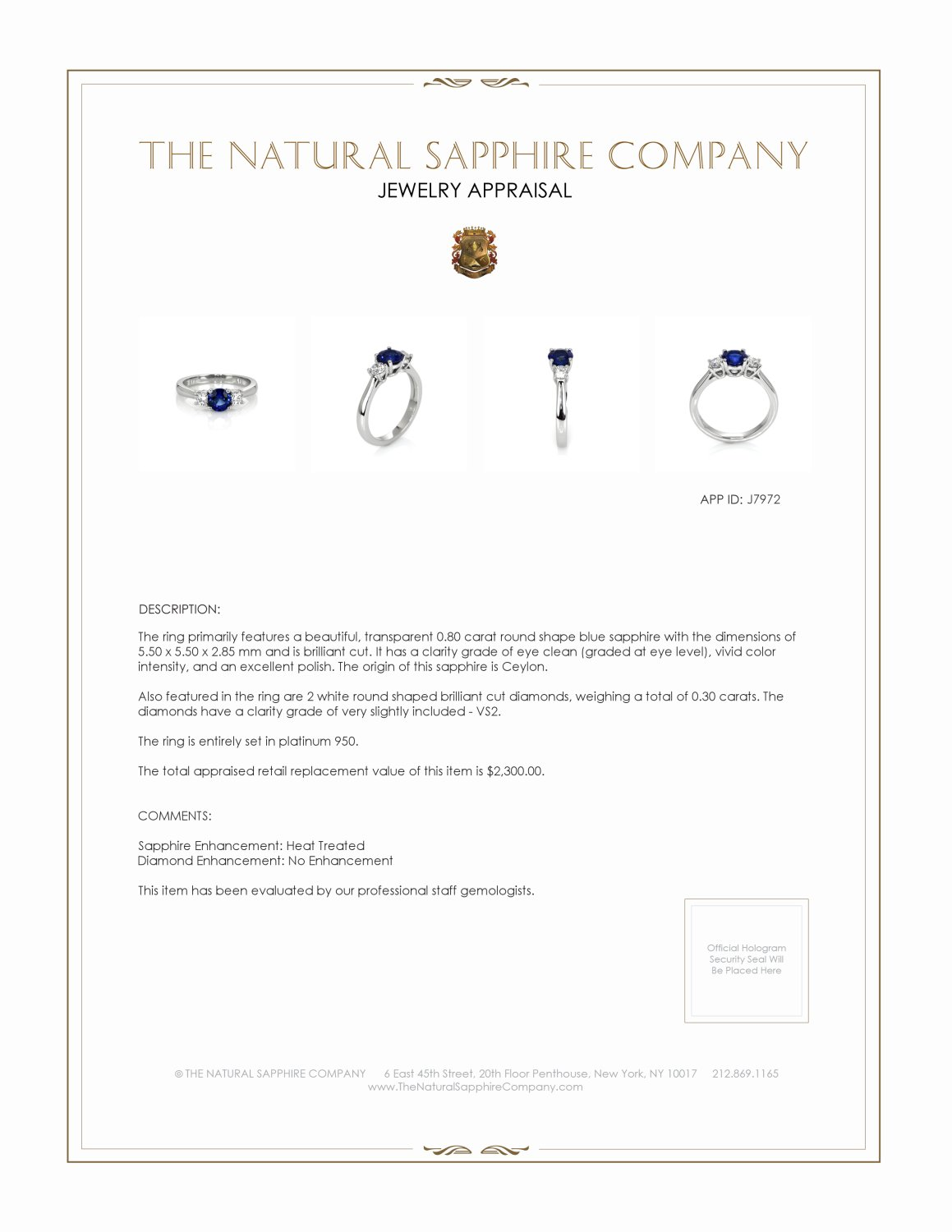 0.80ct Blue Sapphire Ring Certification 2
