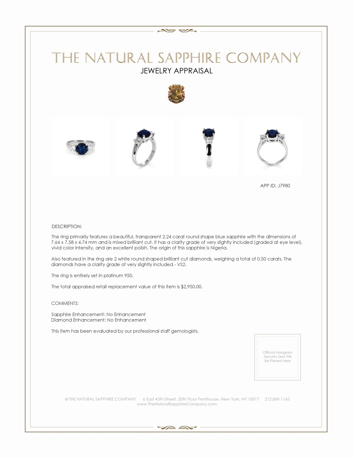 2.24ct Blue Sapphire Ring Certification 2